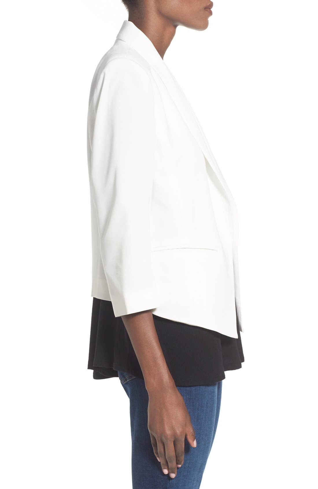 'Curve' Open Front Shawl Collar Blazer,                             Alternate thumbnail 3, color,                             WHITE