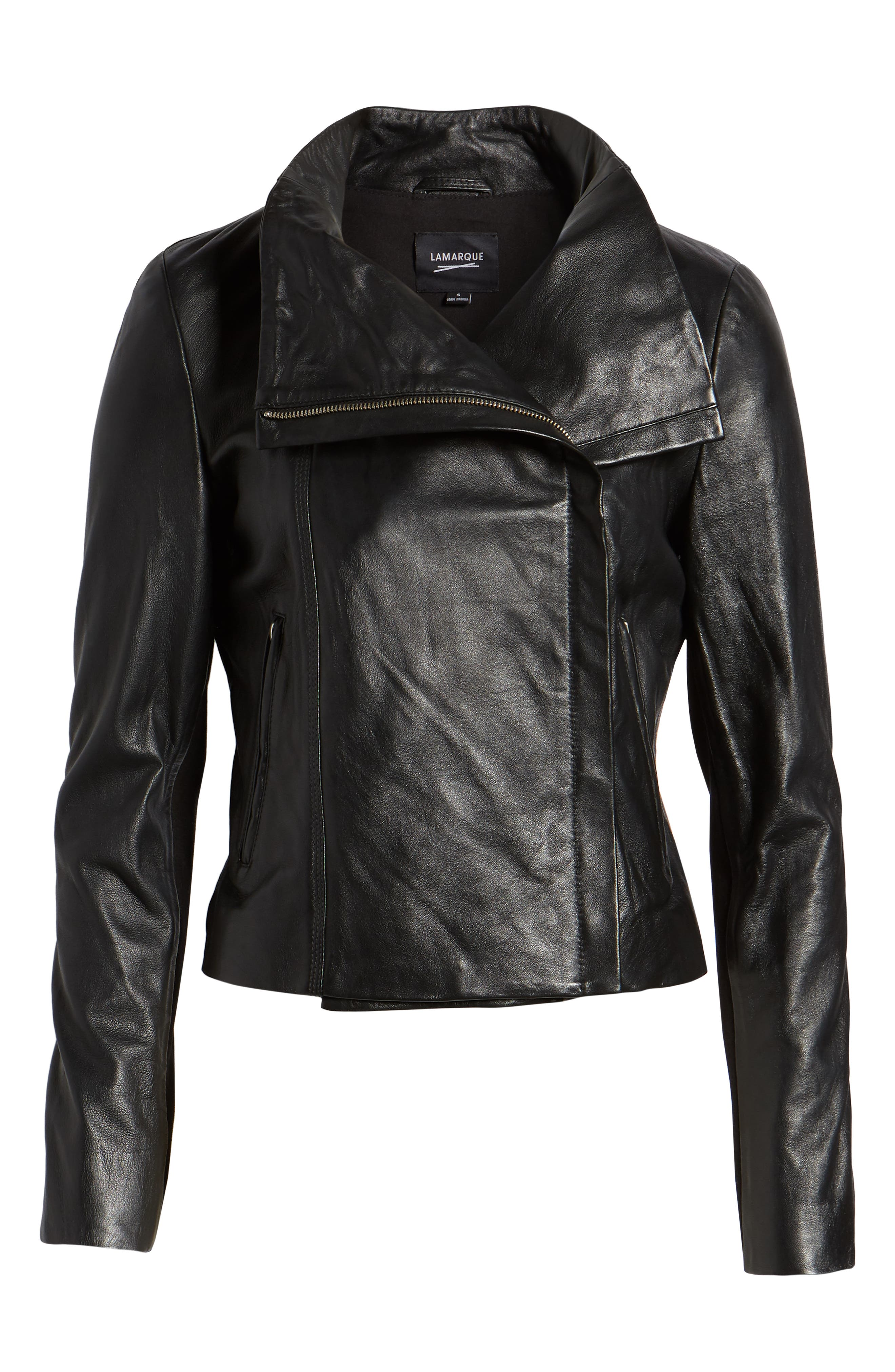 Funnel Neck Moto Jacket,                             Alternate thumbnail 6, color,                             BLACK