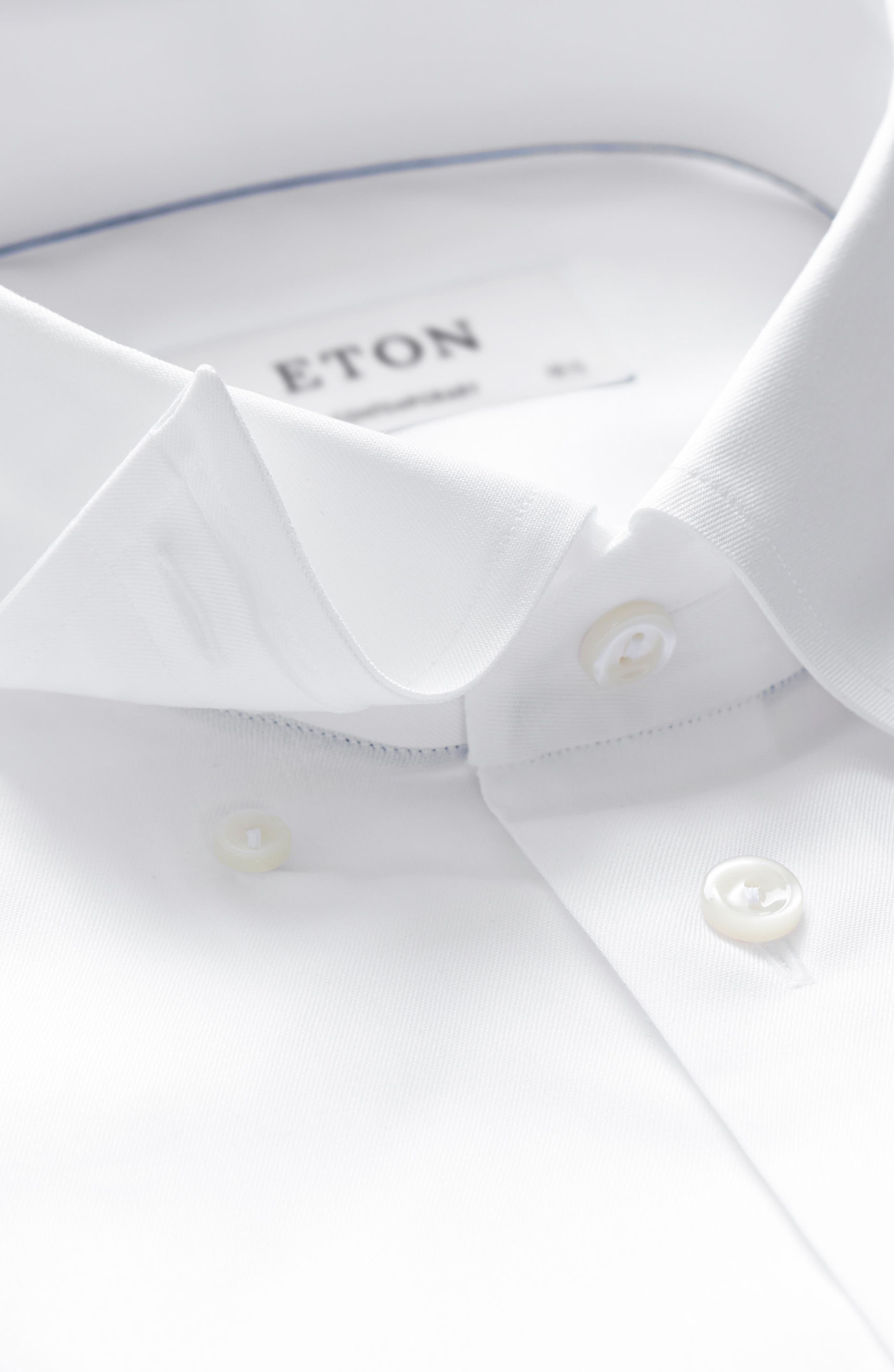 ETON,                             Contemporary Fit Solid Dress Shirt,                             Alternate thumbnail 3, color,                             100