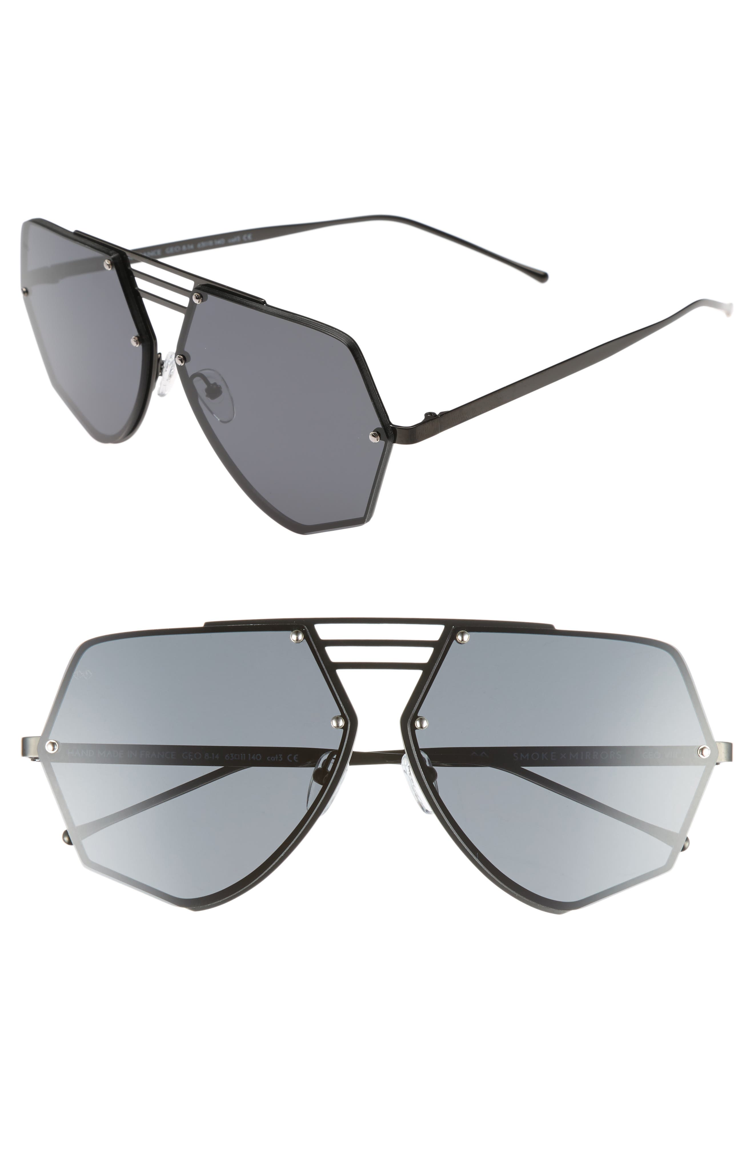 Geo VIII 63mm Sunglasses,                         Main,                         color, DARK GUNMETAL/ DARK GREY
