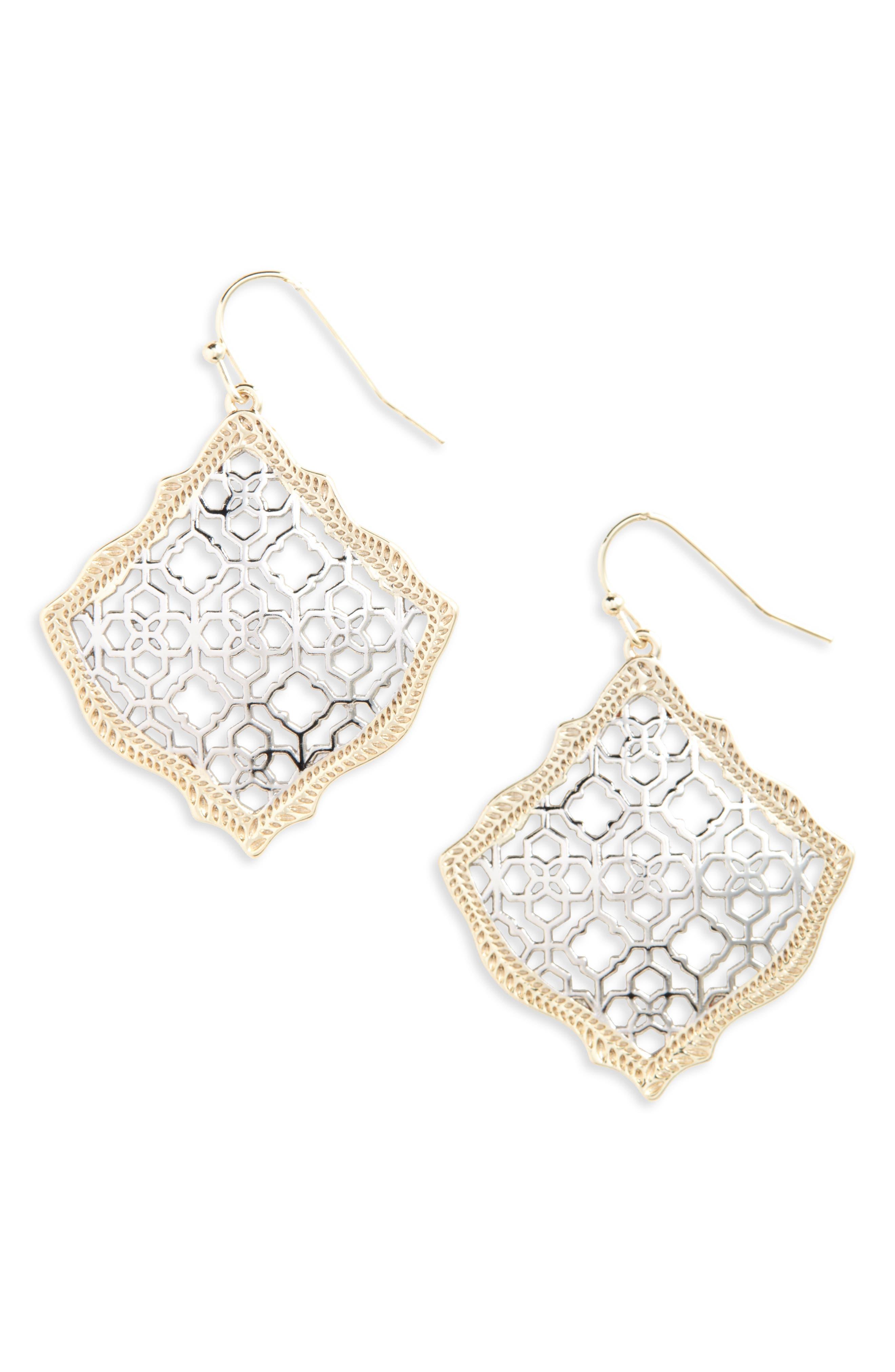 KENDRA SCOTT Kirsten Drop Earrings, Main, color, SILVER FILIGREE/ GOLD
