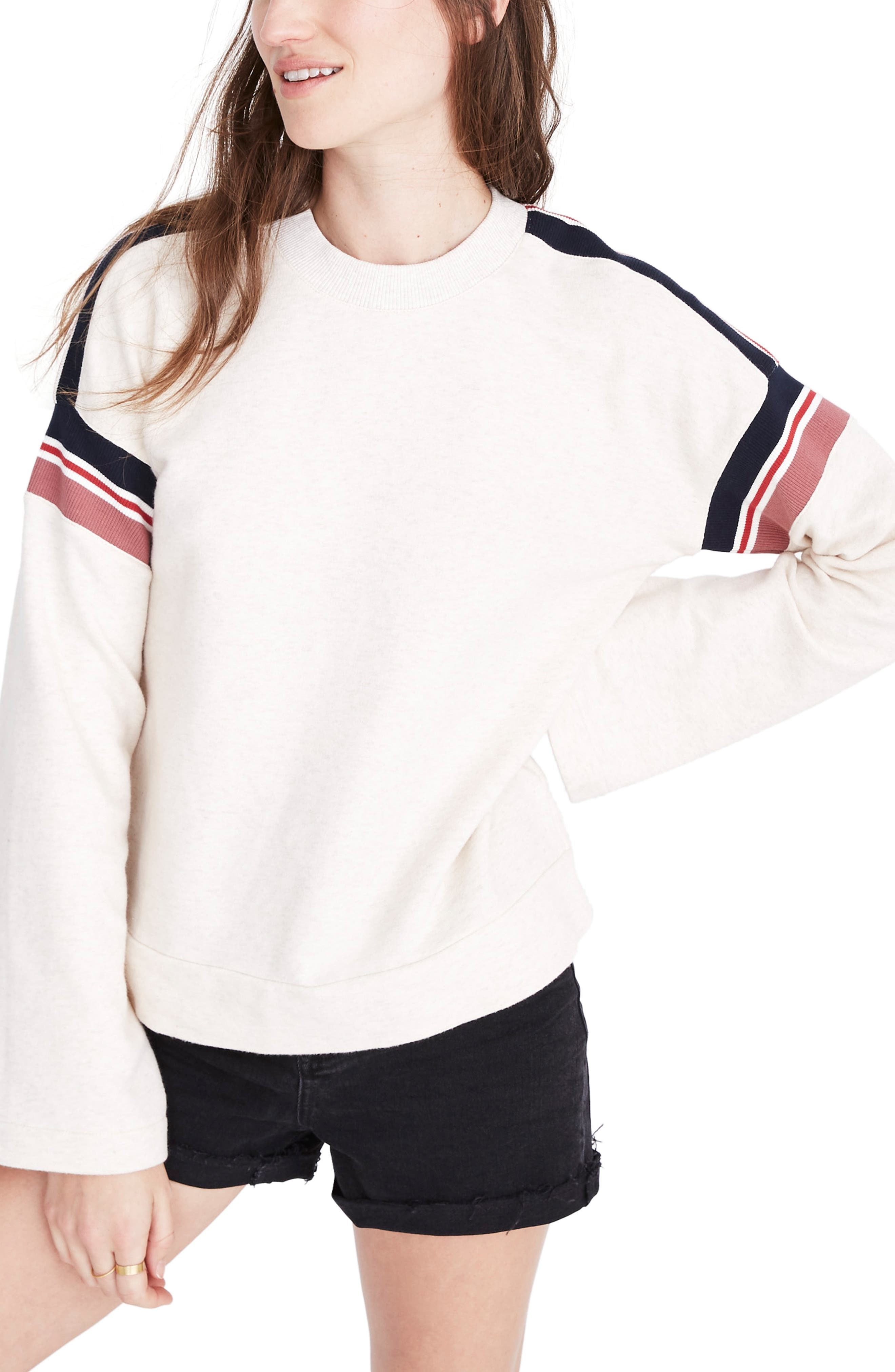 Madewell Stripe Inset Varsity Sweatshirt, Ivory