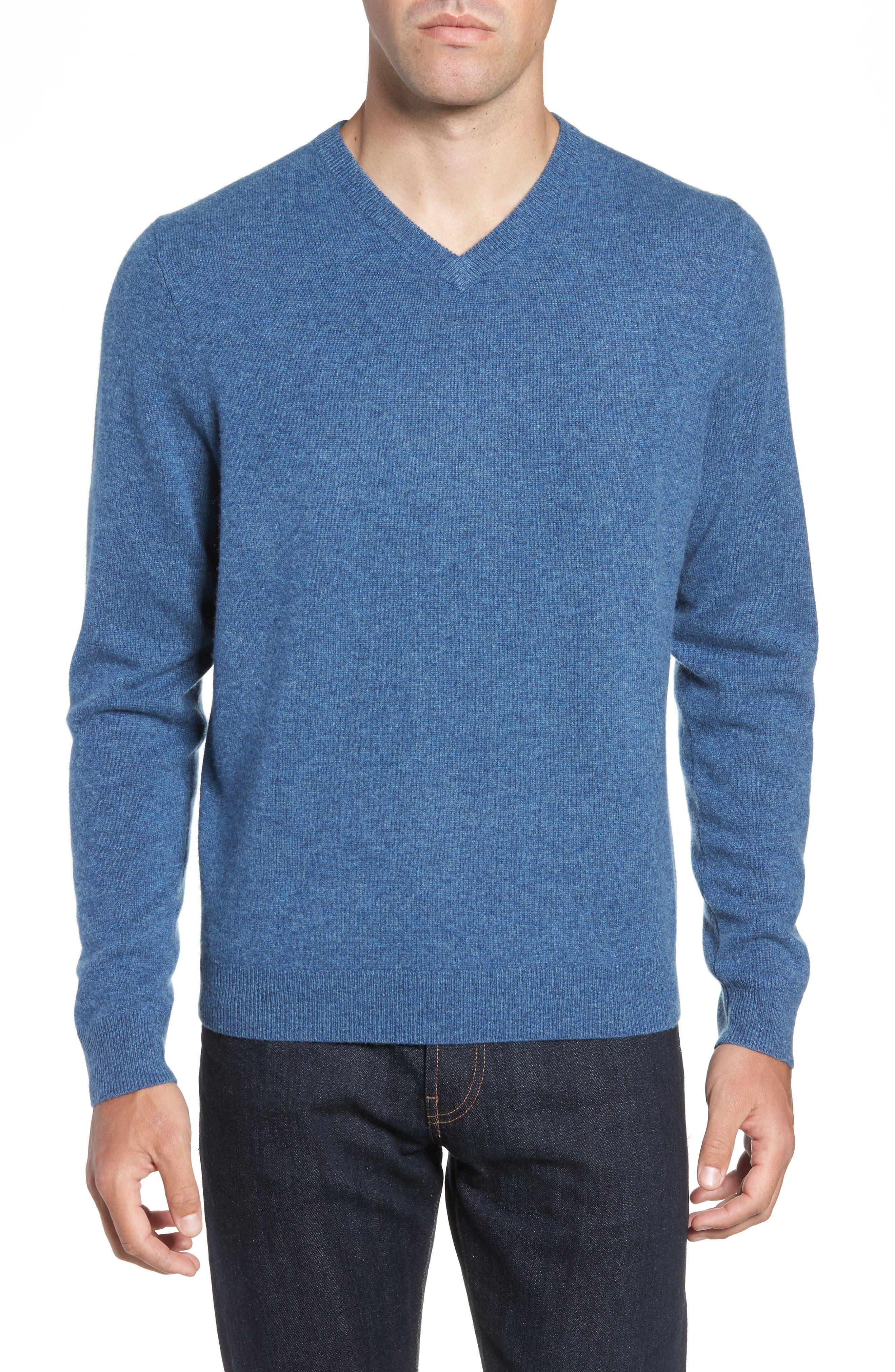 Nordstrom Shop Cashmere V-Neck Sweater, Blue