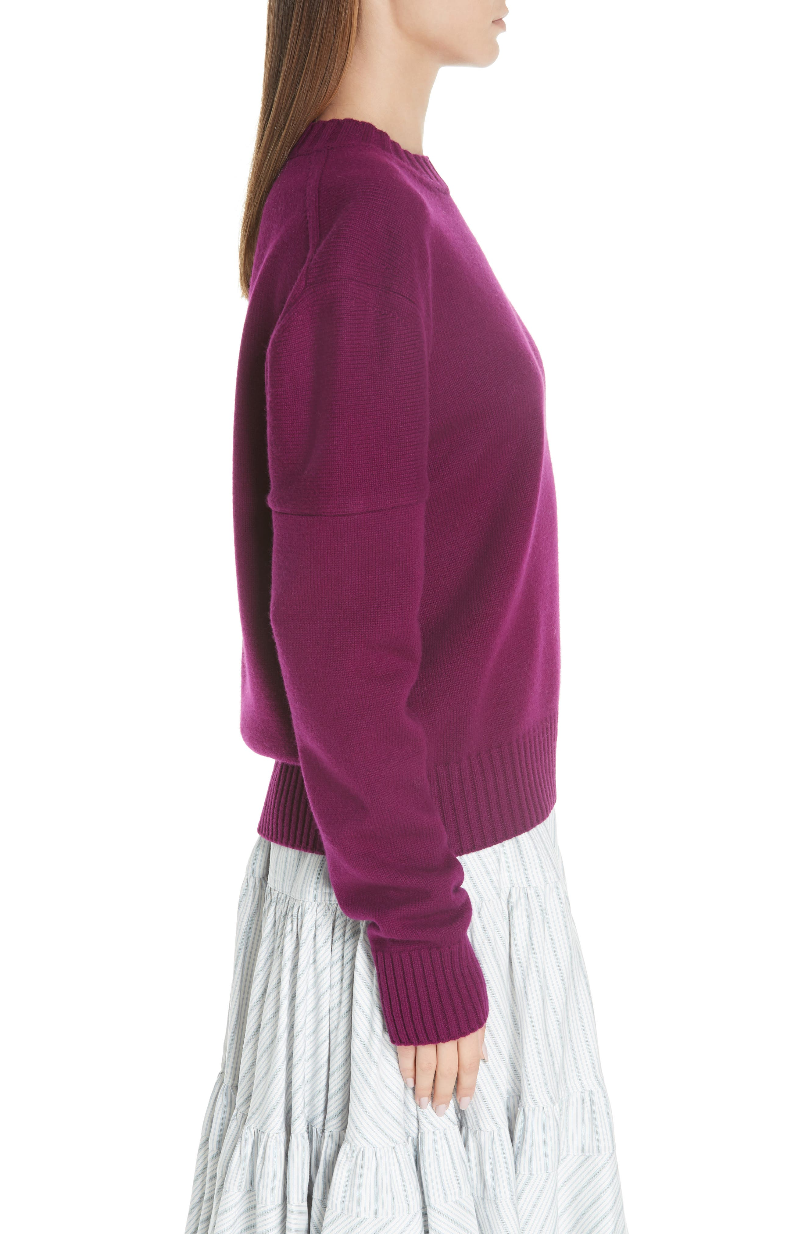 Cashmere Stripe Sleeve Sweater,                             Alternate thumbnail 3, color,                             DEEP PURPLE BRIGHT BLUE WHITE