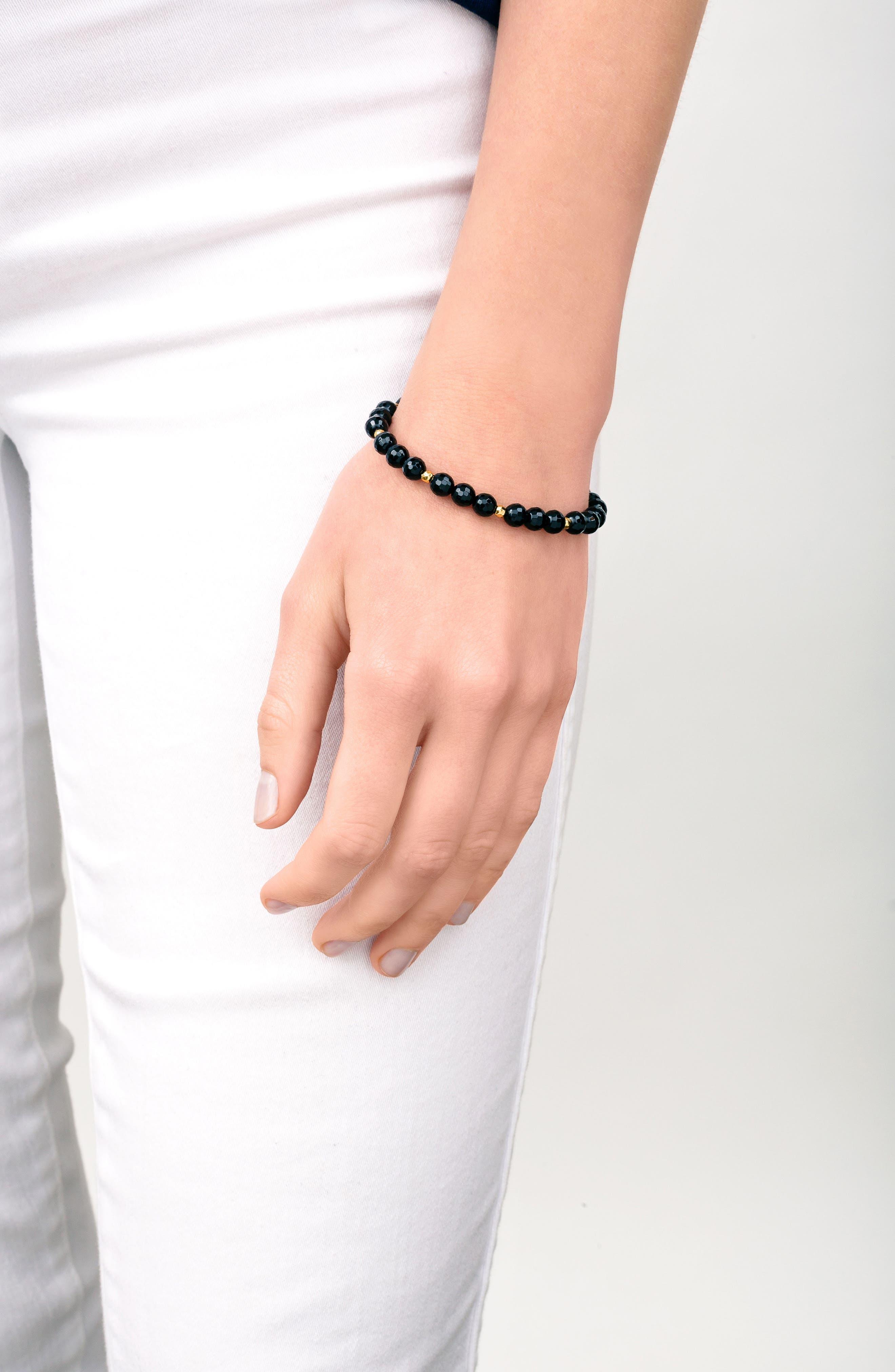 Power Gemstone Beaded Bracelet,                             Alternate thumbnail 3, color,                             BLACK ONYX / GOLD