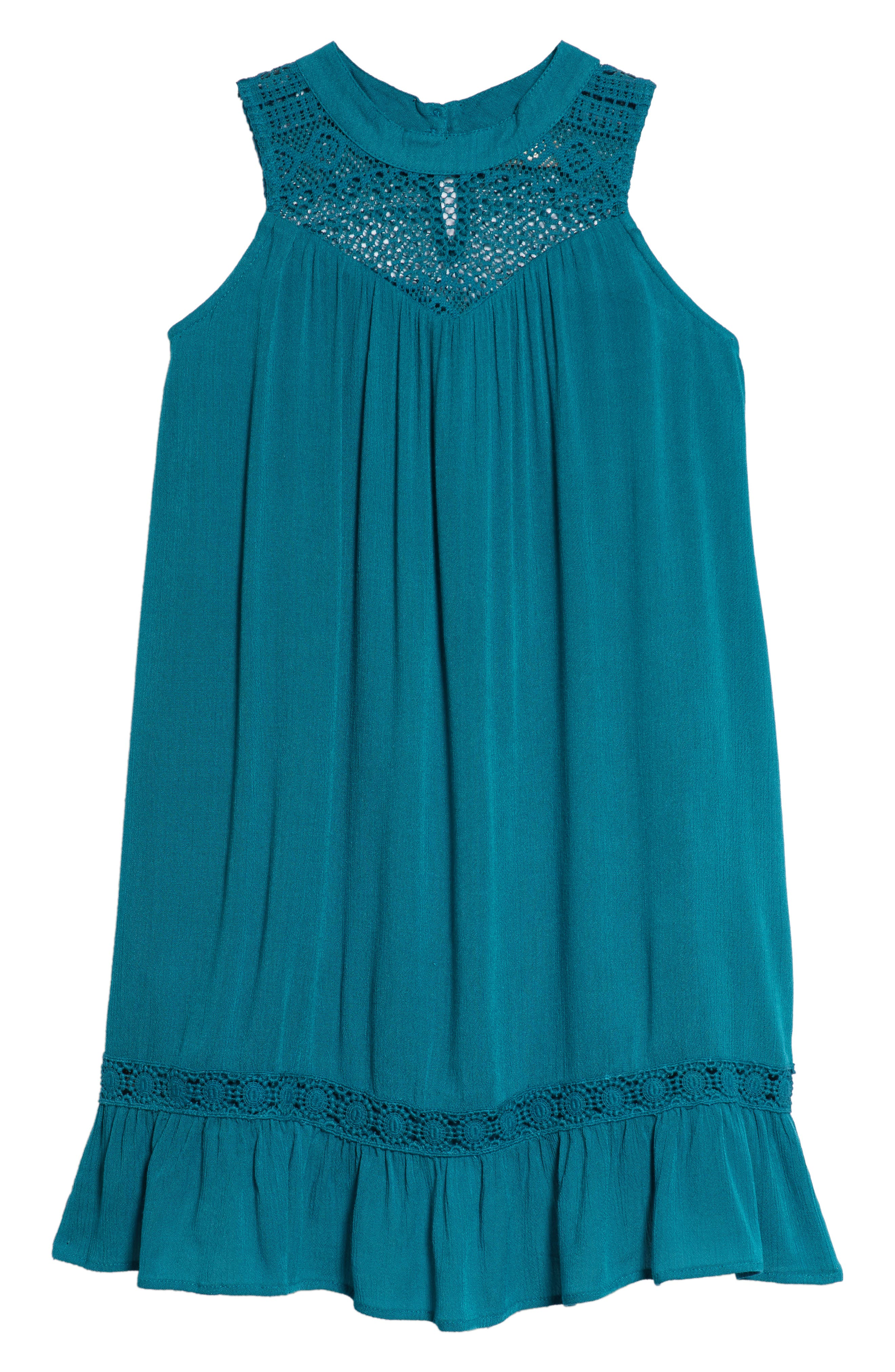 Lace Inset Ruffle Shift Dress,                             Main thumbnail 1, color,                             440