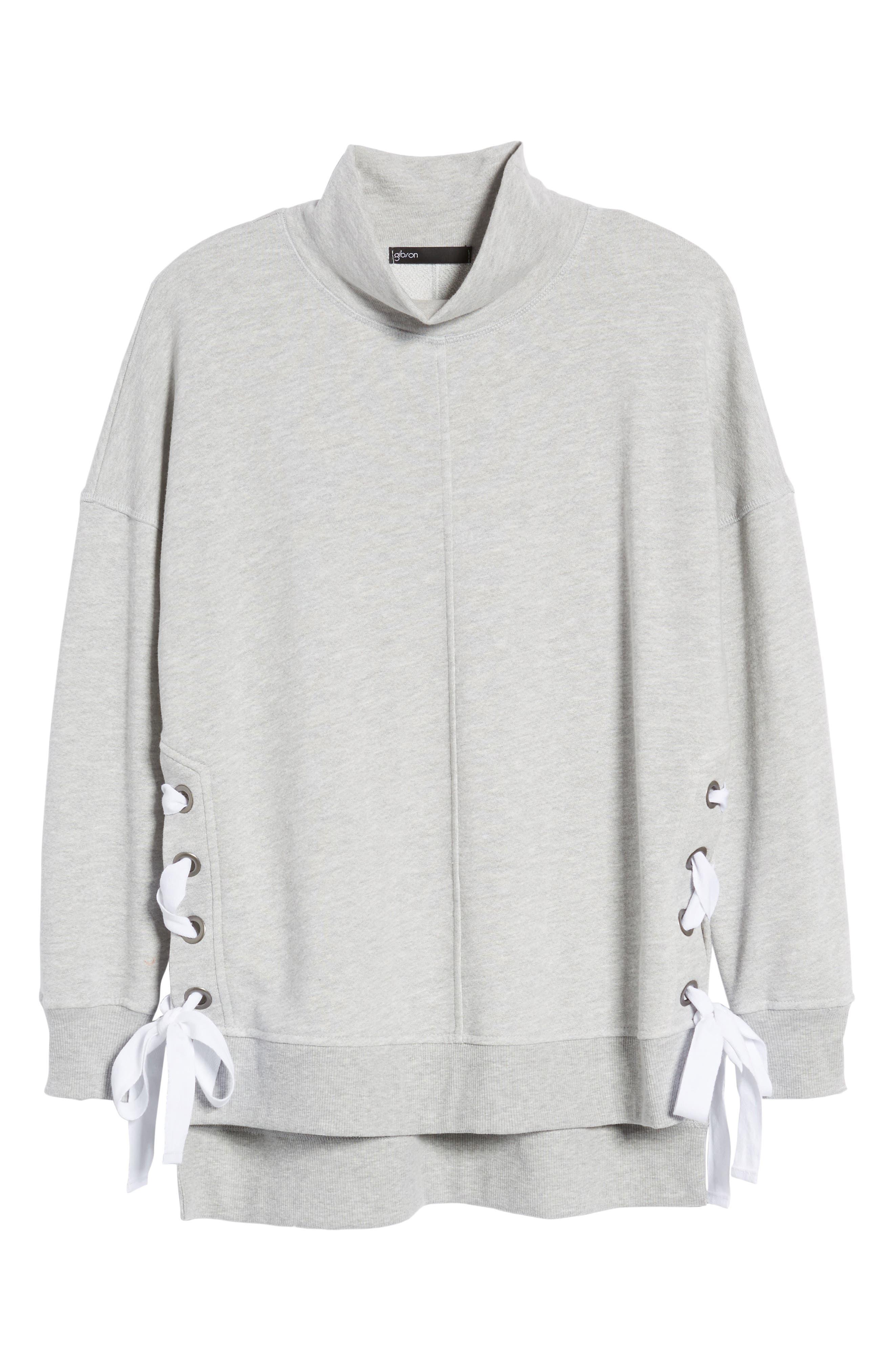 Side Tie High Neck Sweatshirt,                             Alternate thumbnail 7, color,                             055