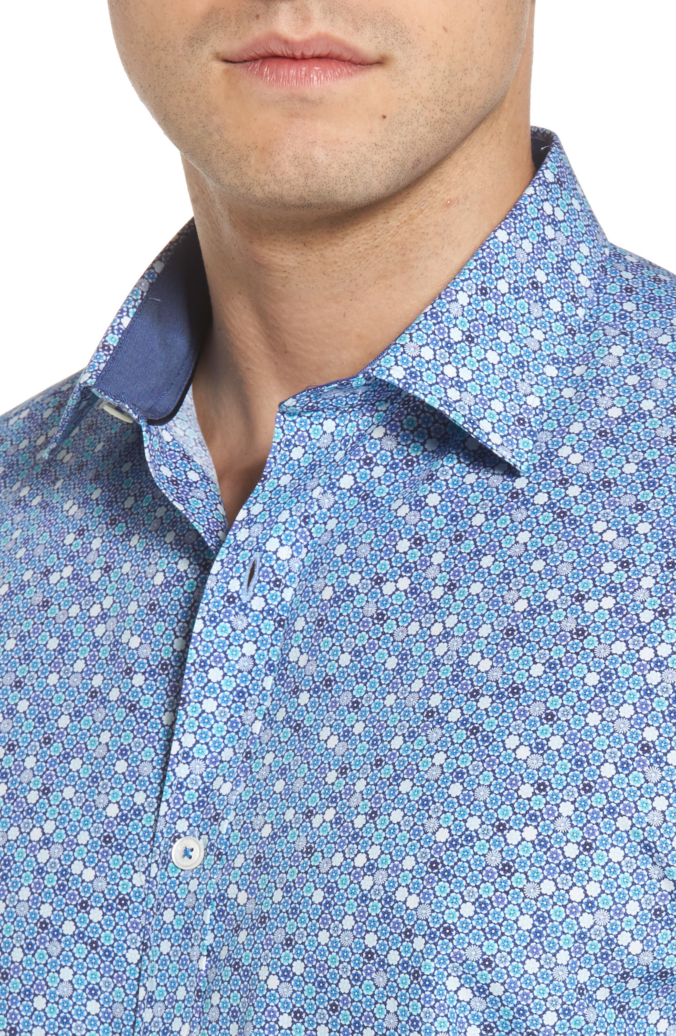 Classic Fit Flower Print Sport Shirt,                             Alternate thumbnail 4, color,