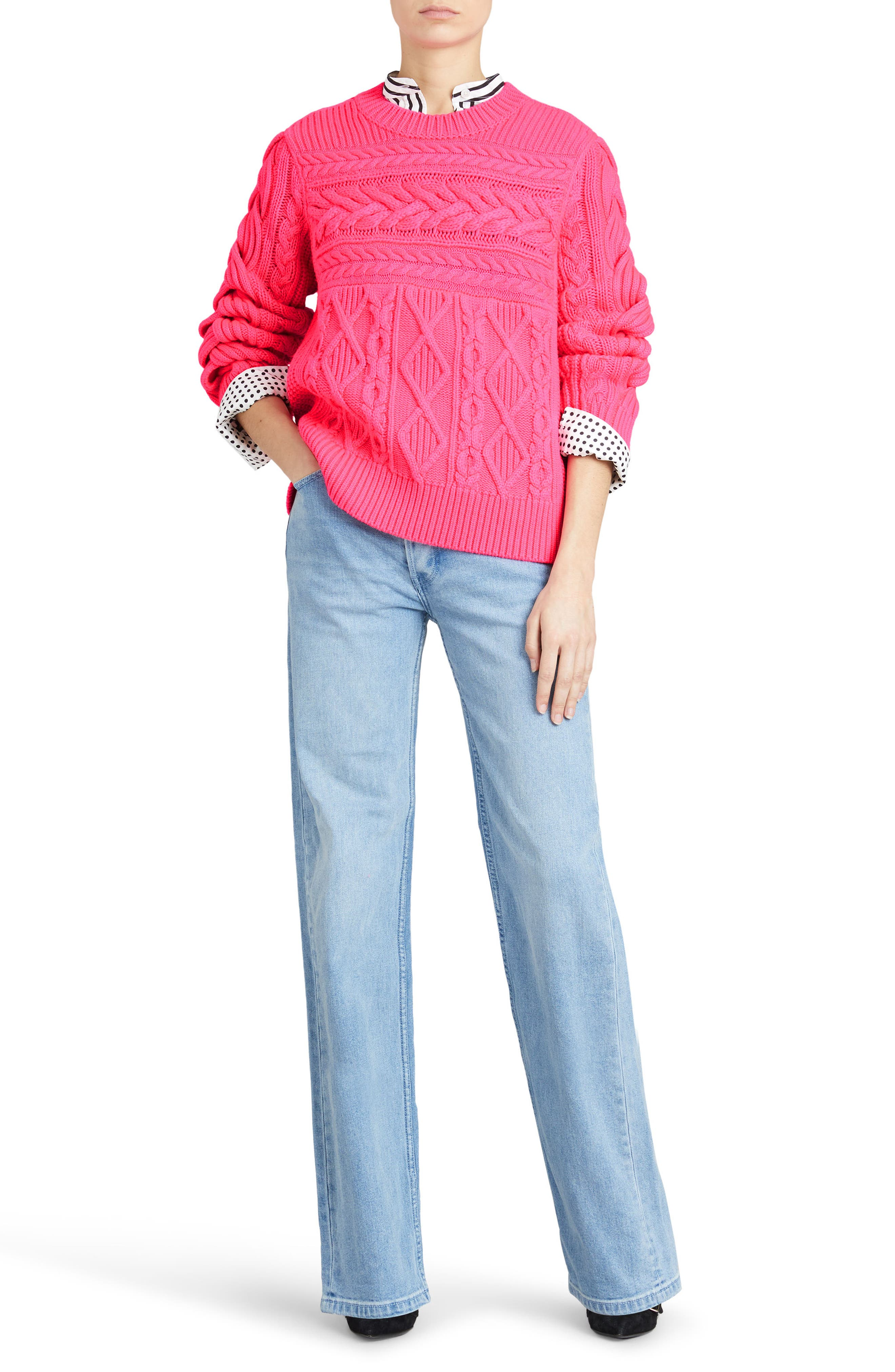 Tolman Aran Knit Sweater,                             Alternate thumbnail 4, color,
