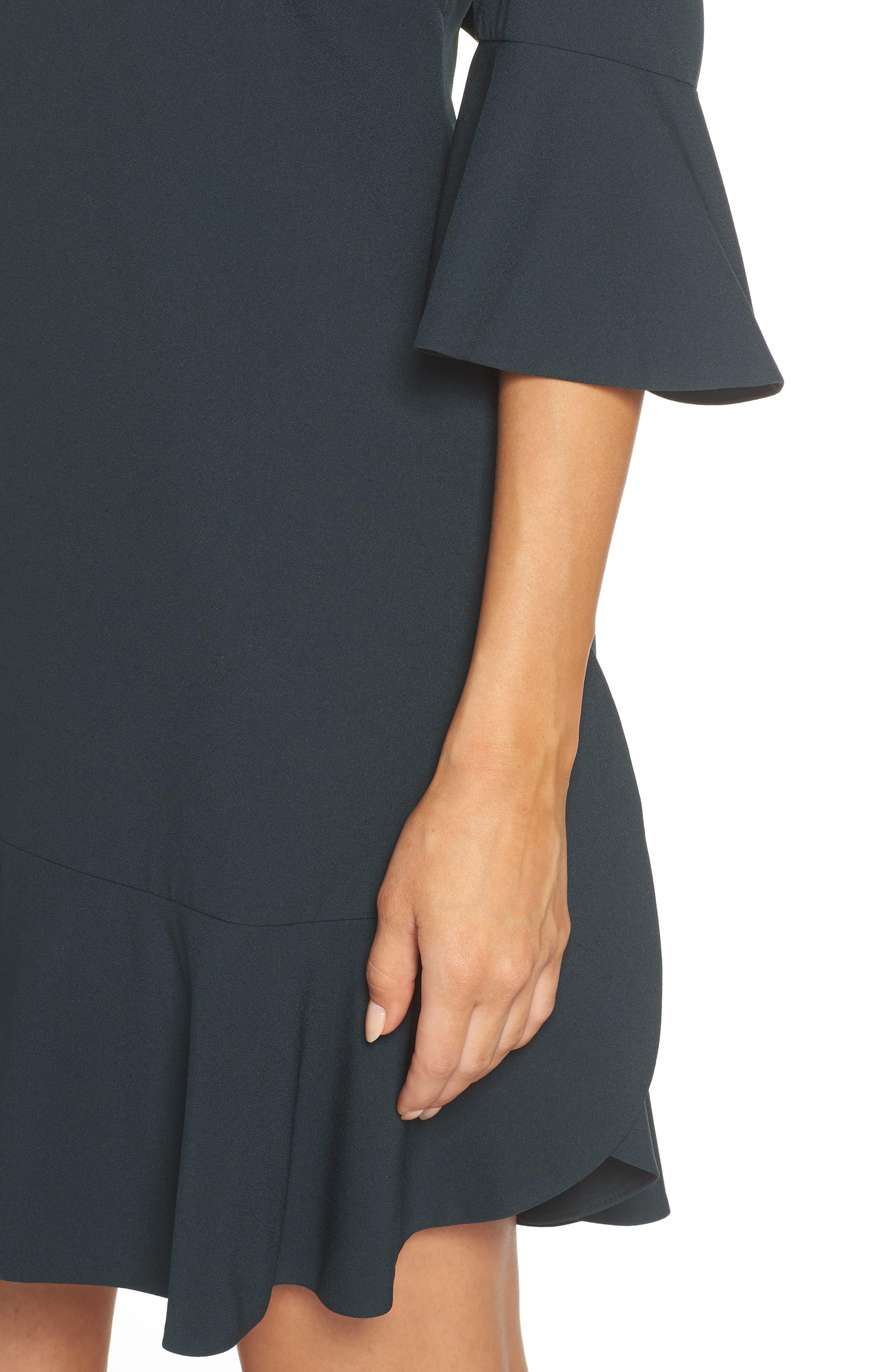 Bell Sleeve Dress,                             Alternate thumbnail 4, color,                             GREEN BUG