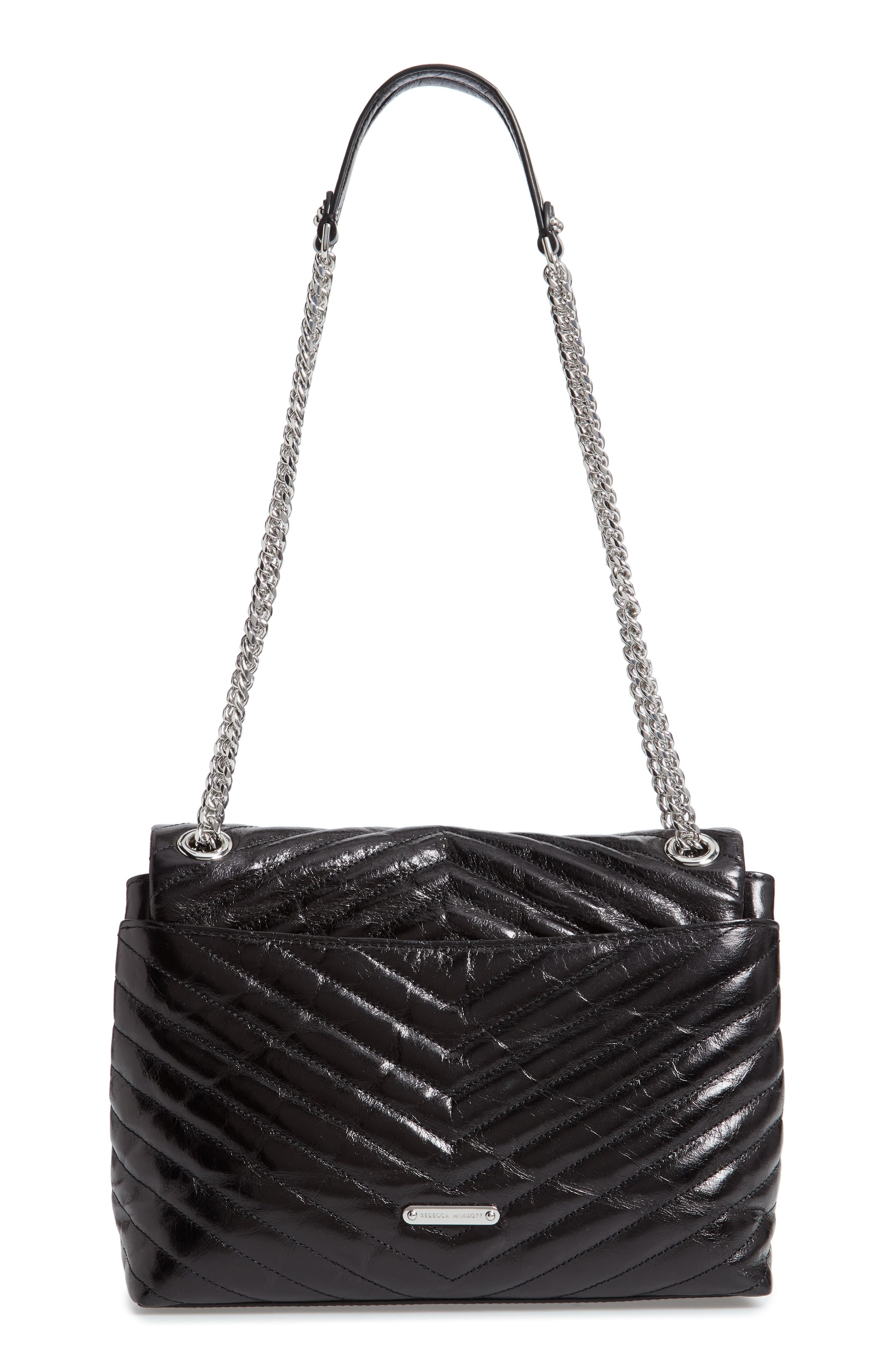 Edie Flap Front Leather Shoulder Bag,                             Alternate thumbnail 3, color,                             BLACK