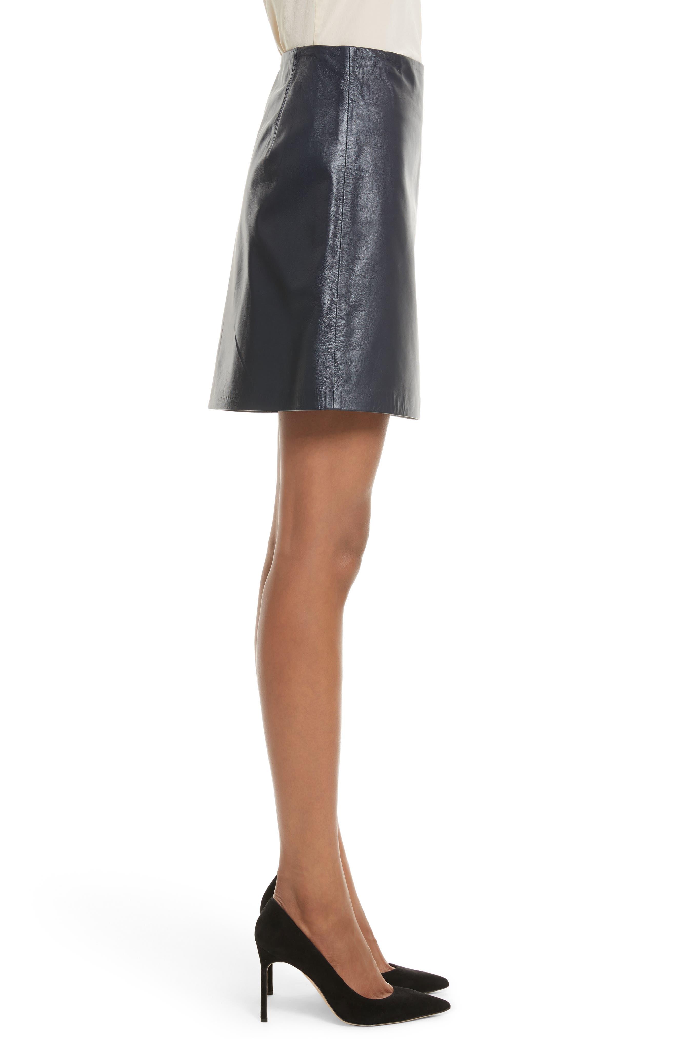 Micro Mini Paper Leather Skirt,                             Alternate thumbnail 3, color,                             410