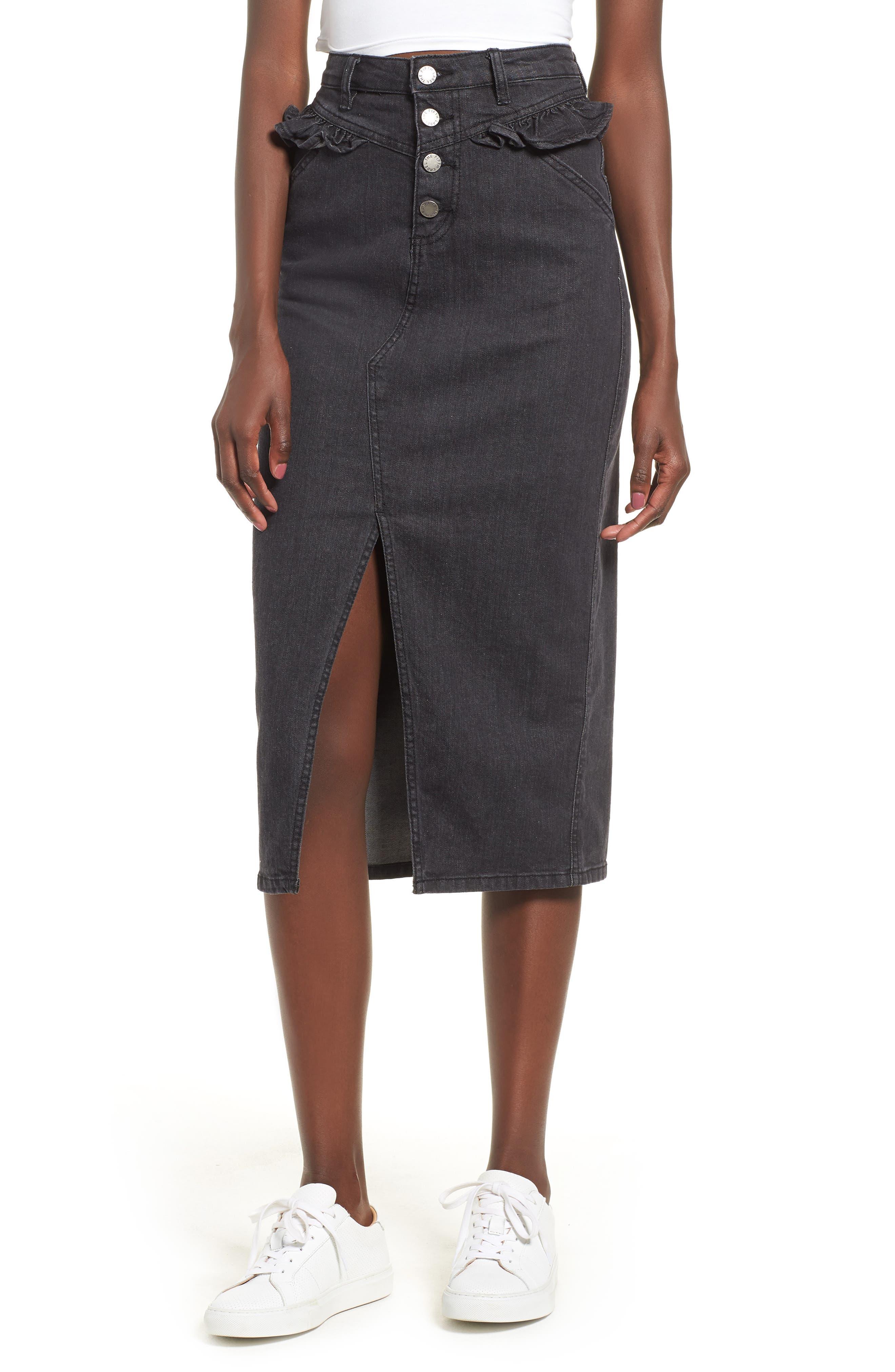 The Fifth Label Subject Ruffle Waist Denim Midi Skirt, Black