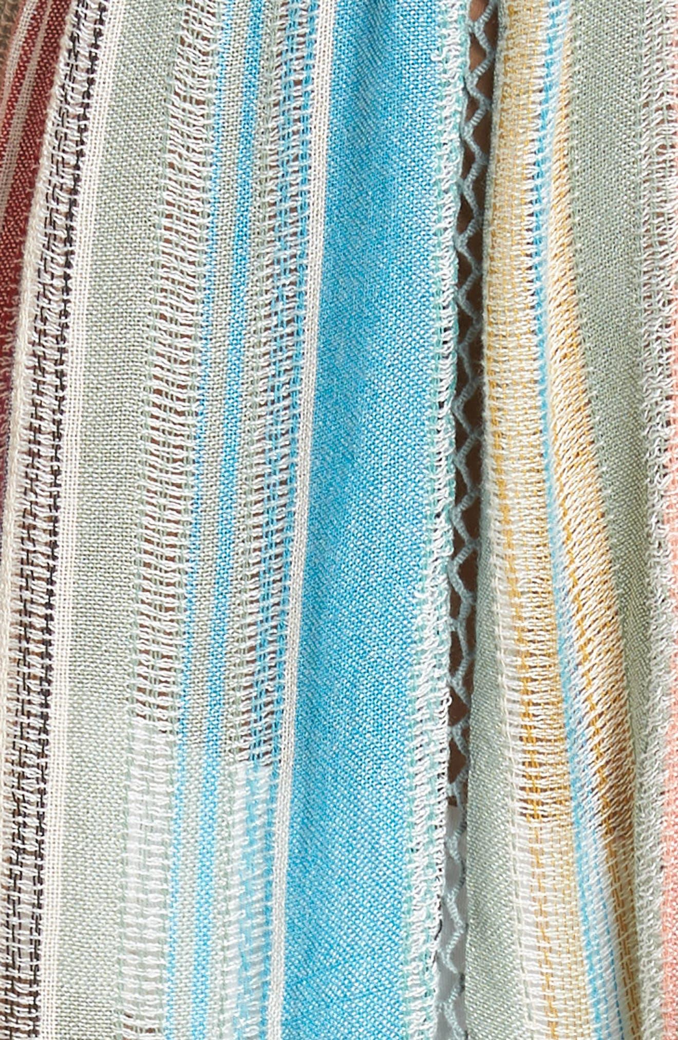 Tie Front Cover-Up Dress,                             Alternate thumbnail 5, color,                             MULTI STRIPE