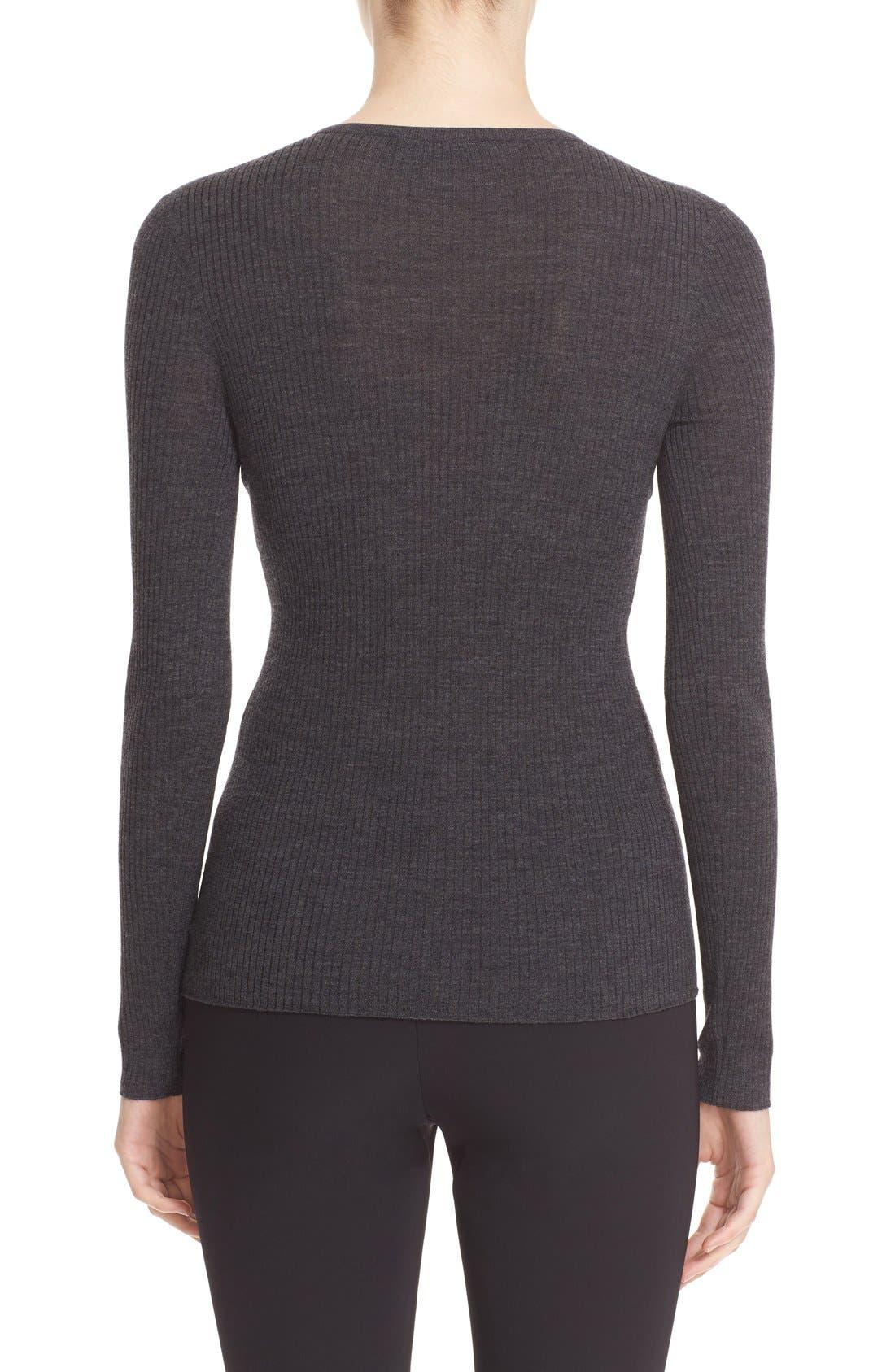 'Mirzi' Rib Knit Merino Wool Sweater,                             Alternate thumbnail 2, color,                             CHARCOAL MELANGE