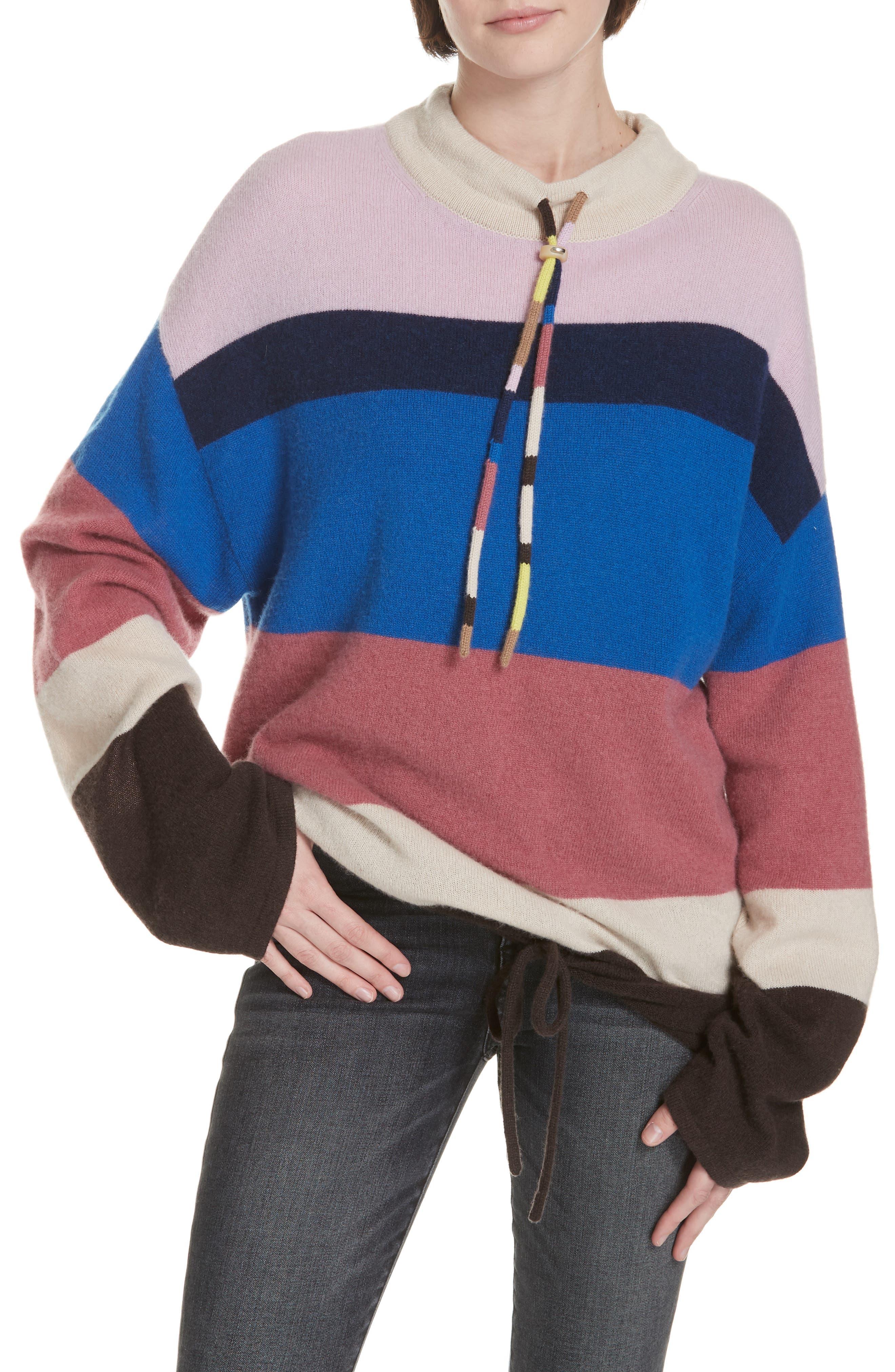 Stripe Mock Neck Cashmere Pullover,                         Main,                         color, ROYAL BLUE MULTI