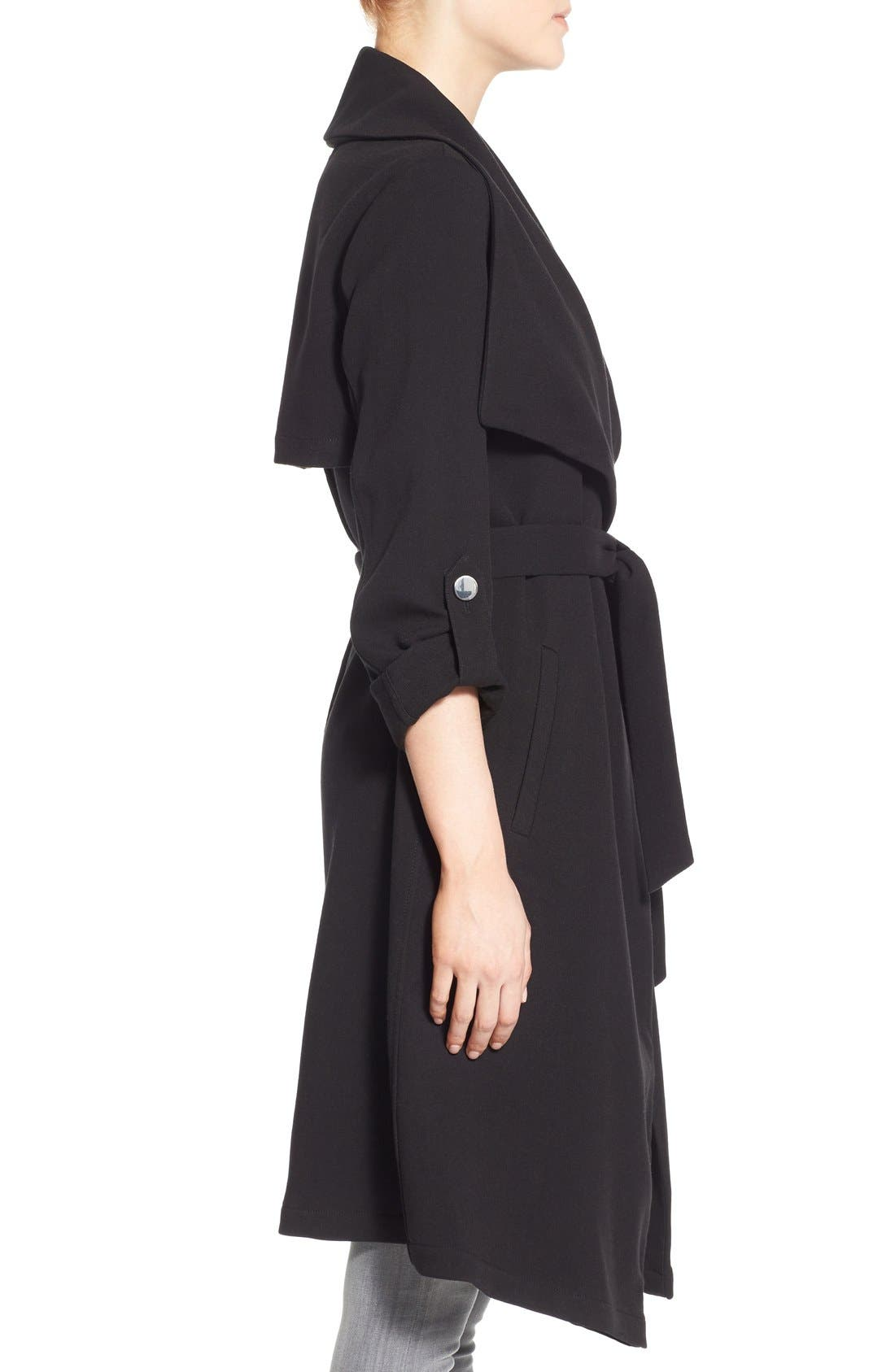 Roll Sleeve Drape Front Long Trench Coat,                             Alternate thumbnail 12, color,
