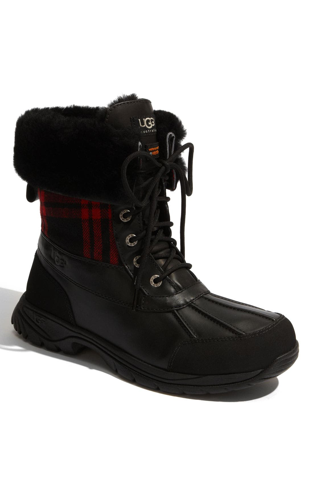 UGG<SUP>®</SUP>,                             Butte Plaid Waterproof Boot,                             Main thumbnail 1, color,                             001