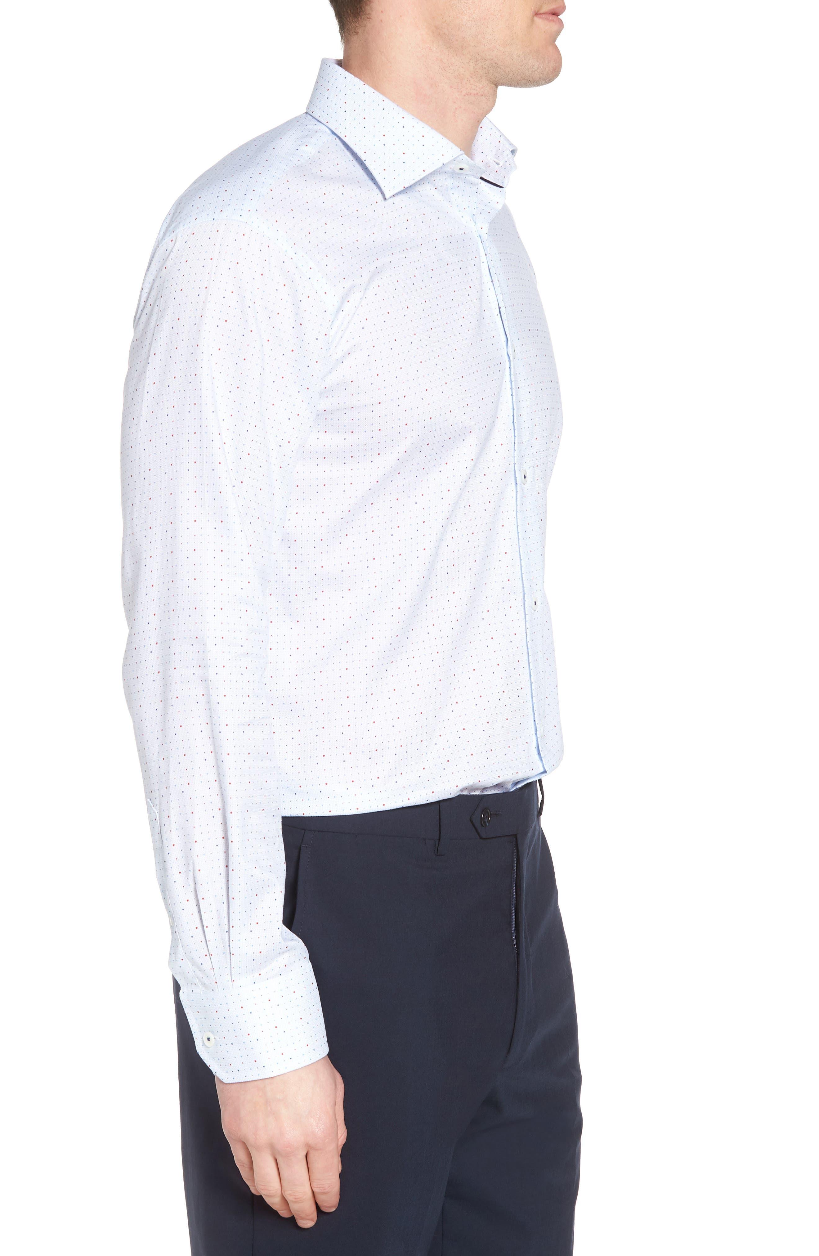 Trim Fit Dot Dress Shirt,                             Alternate thumbnail 4, color,                             ICE BLUE