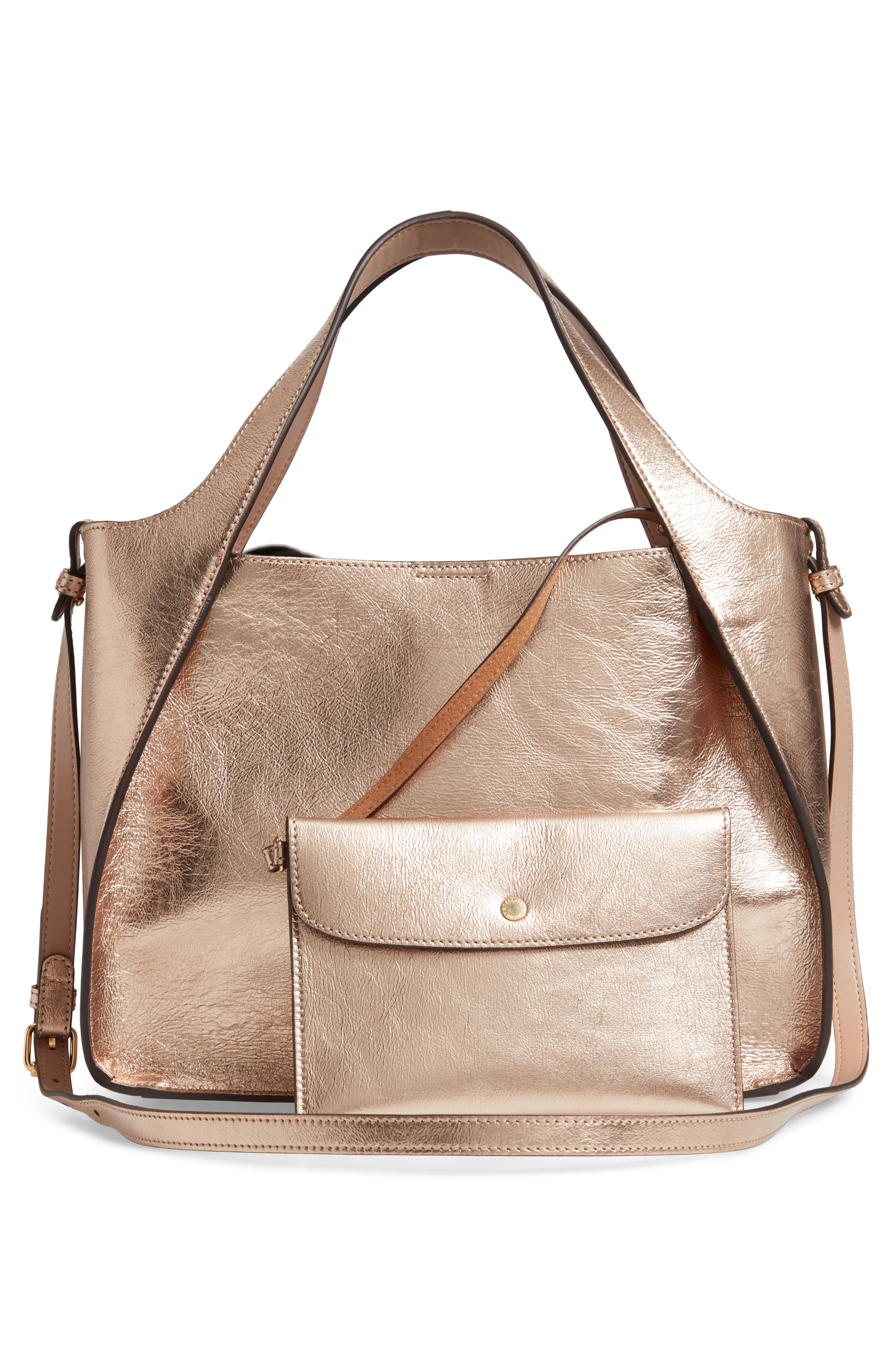 Perforated Logo Metallic Faux Leather Satchel,                             Alternate thumbnail 3, color,                             ROSE GOLD