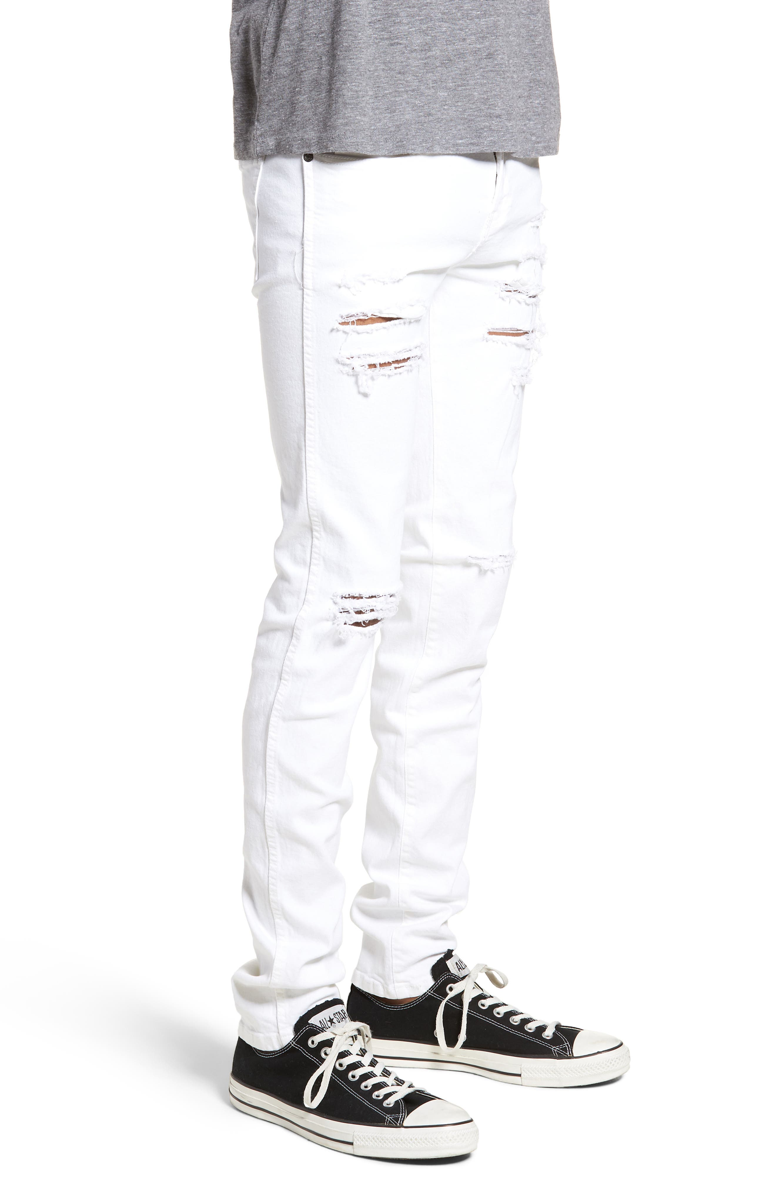Snap Skinny Fit Jeans,                             Alternate thumbnail 3, color,                             WHITE RIPPED