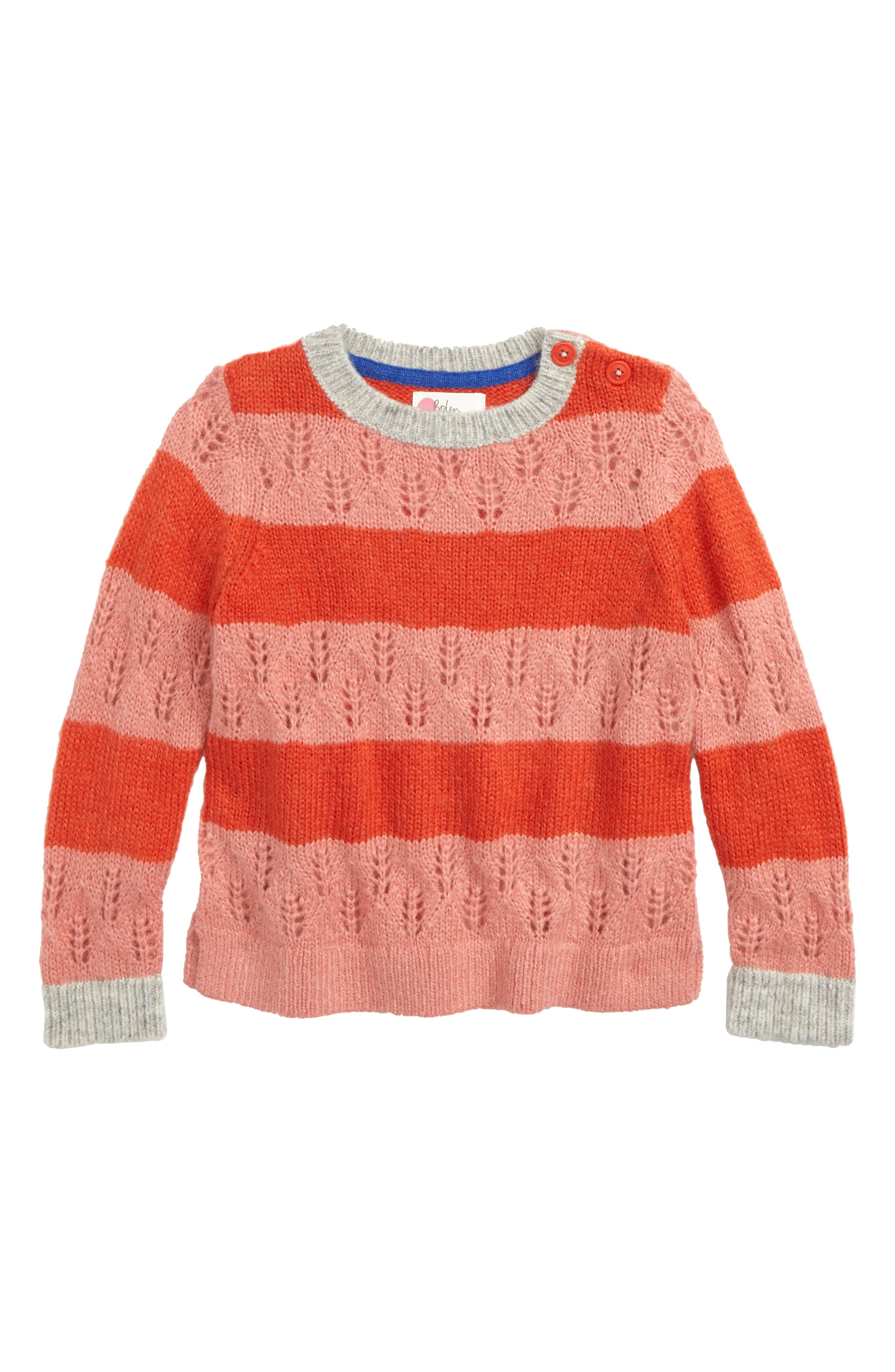 Stripe Knit Sweater,                             Main thumbnail 1, color,                             POPPY RED/ FORMICA PINK