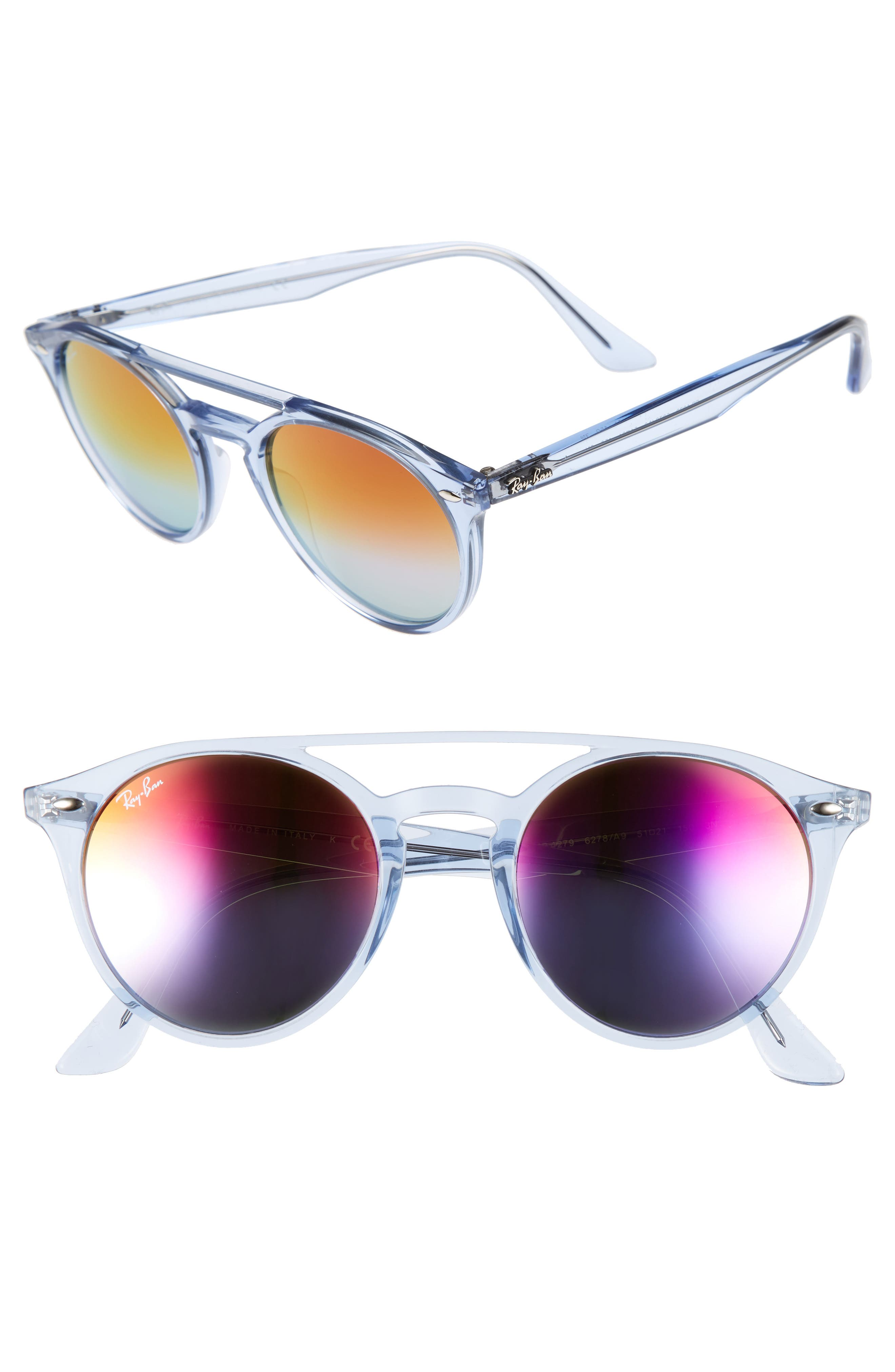 51mm Mirrored Rainbow Sunglasses,                             Main thumbnail 1, color,                             428