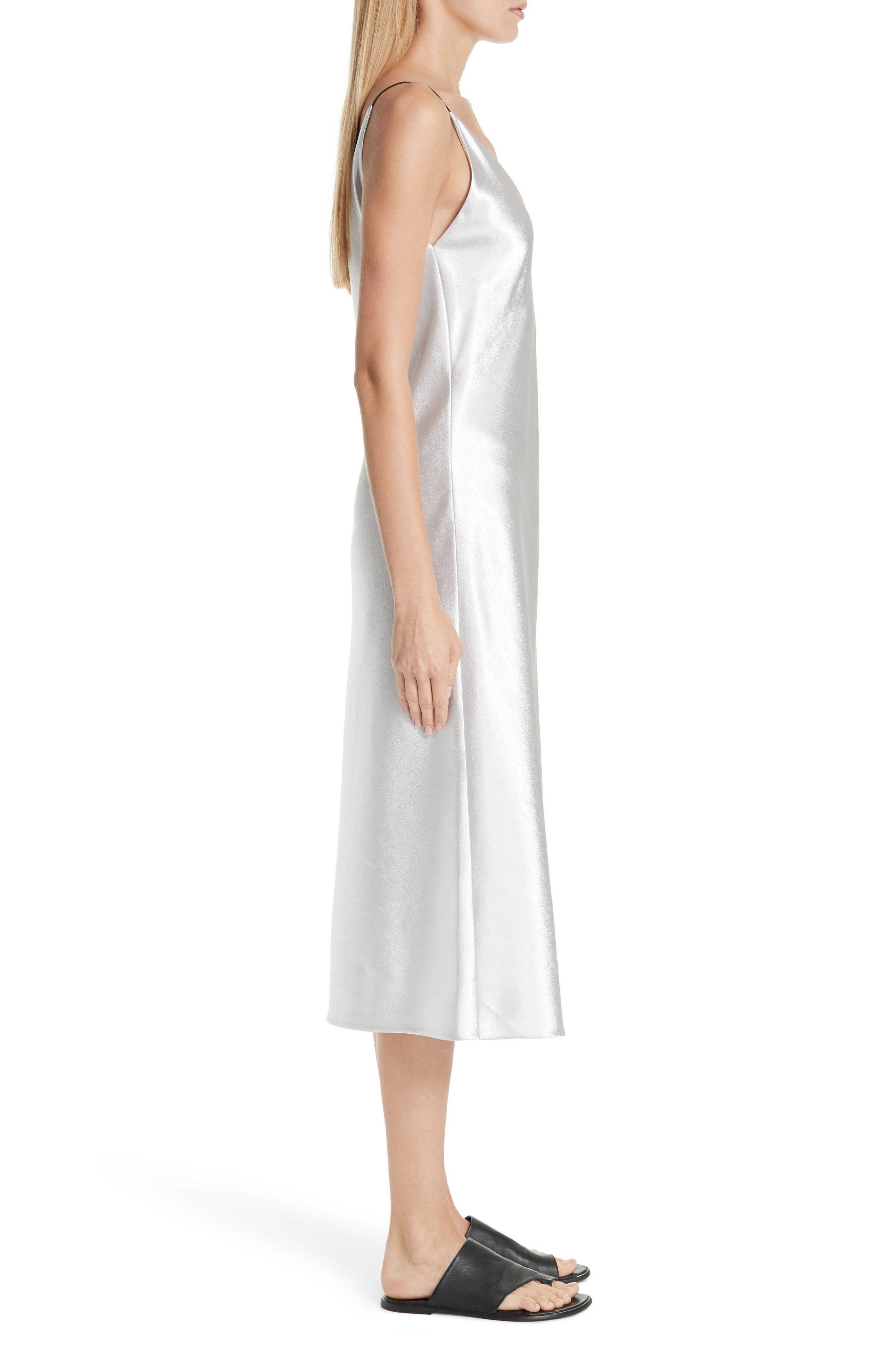 V-neck Bias Cut Dress,                             Alternate thumbnail 3, color,                             SILVER