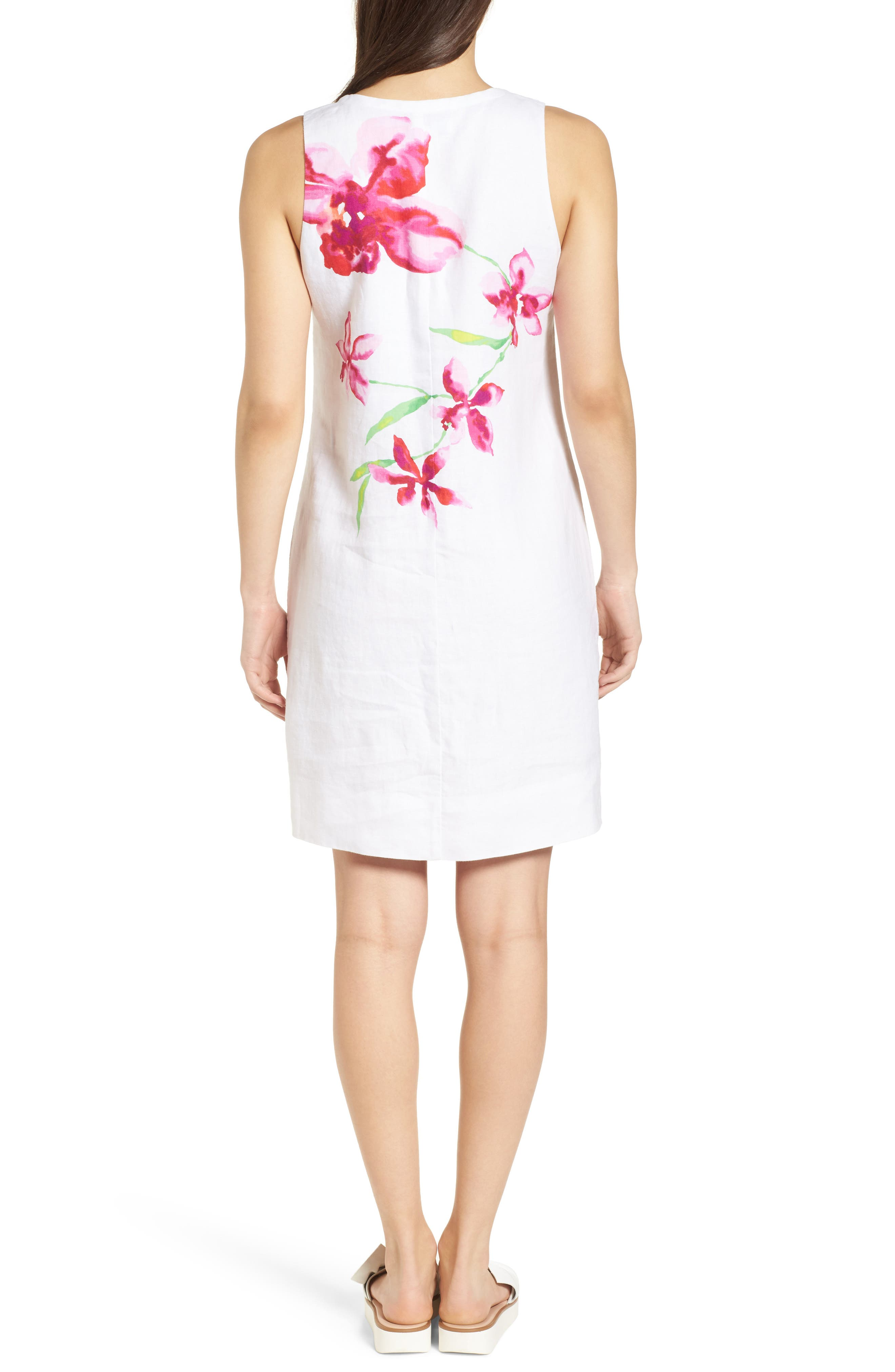 Floral Fade Shift Dress,                             Alternate thumbnail 2, color,                             WHITE