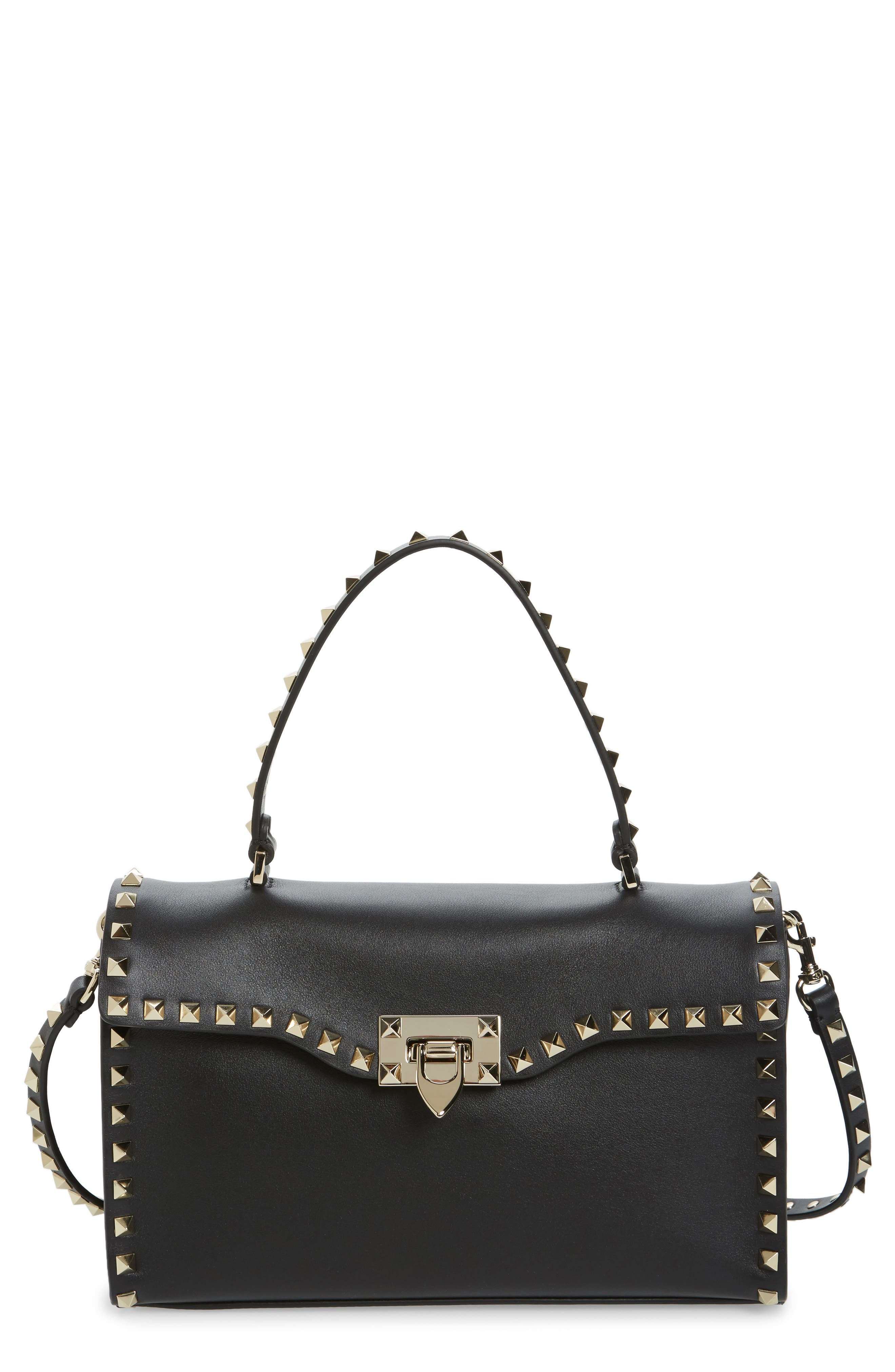 Small Rockstud Leather Top Handle Satchel,                         Main,                         color,