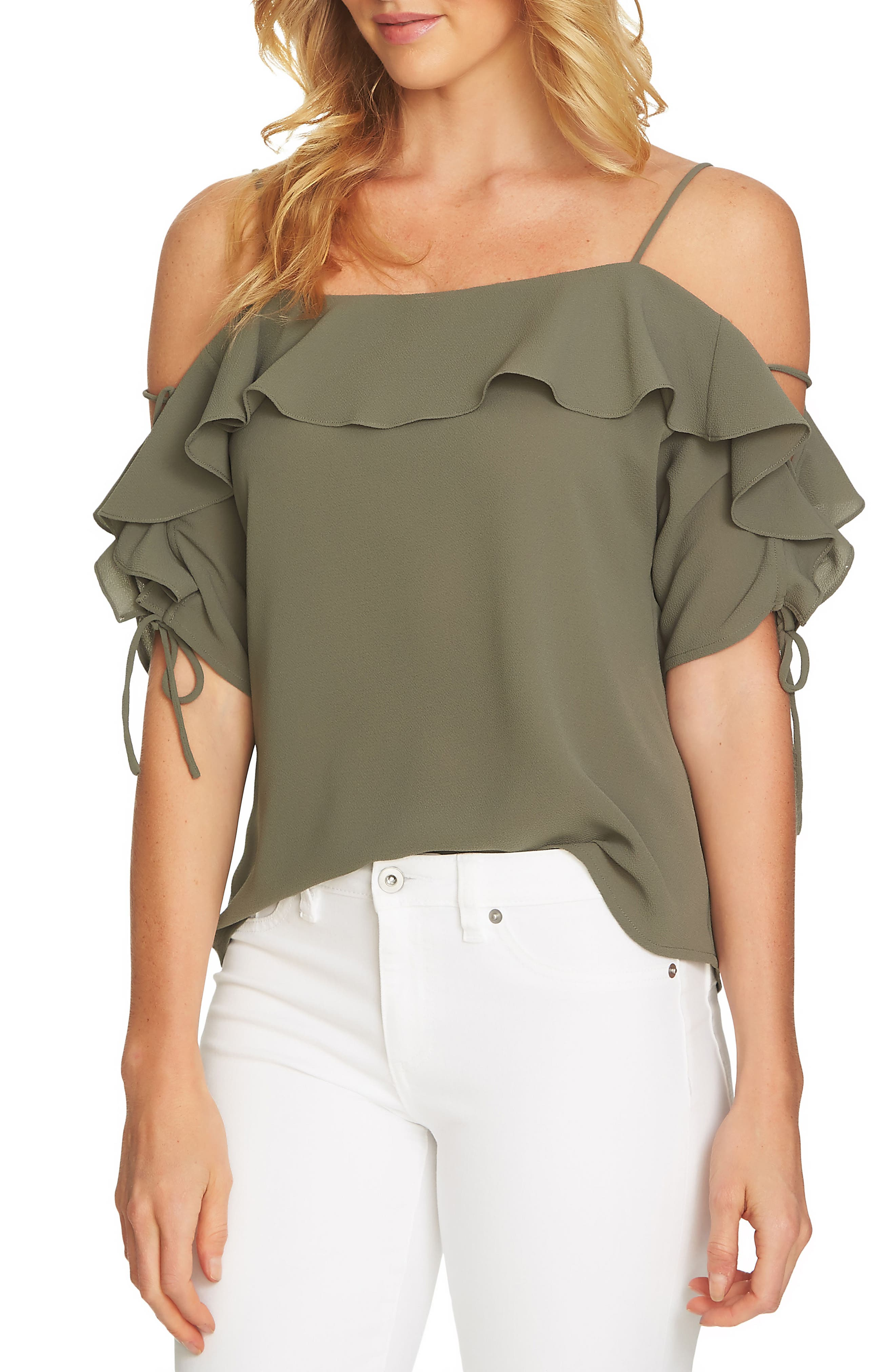 Cold Shoulder Ruffle Stretch Crepe Top,                             Main thumbnail 2, color,