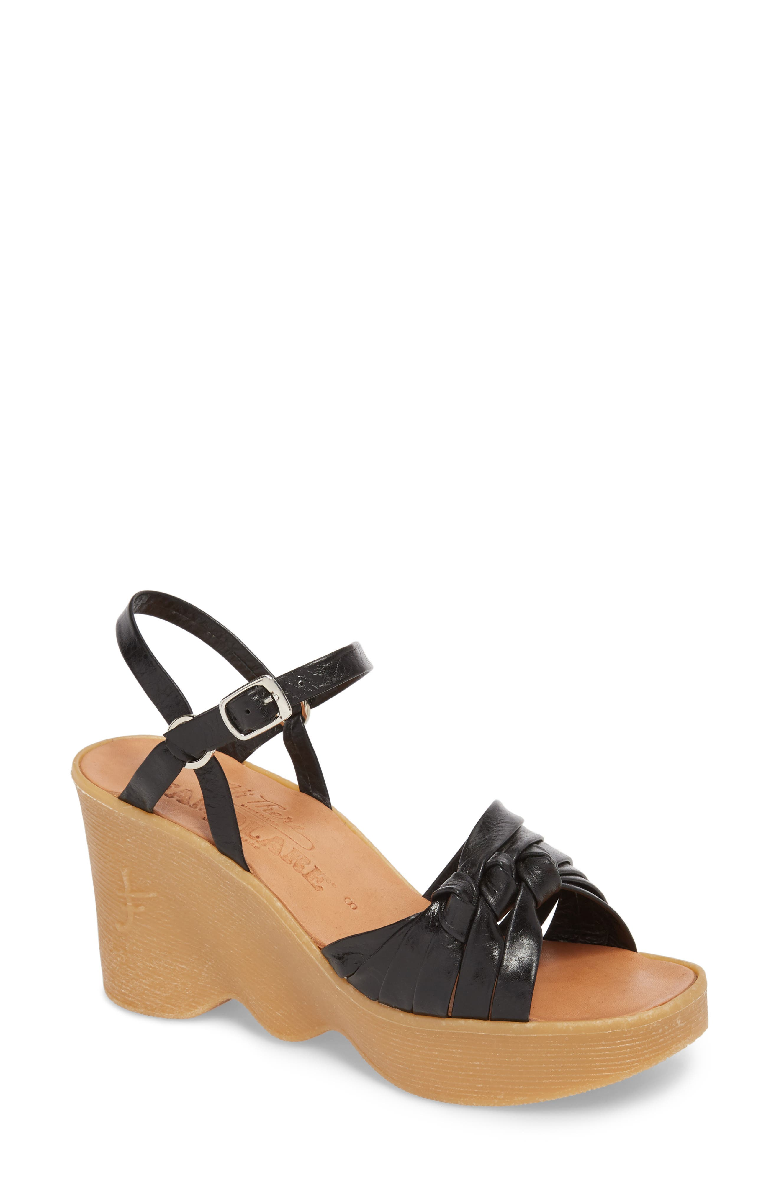 Knot So Fast Wedge Sandal,                         Main,                         color, COAL LEATHER