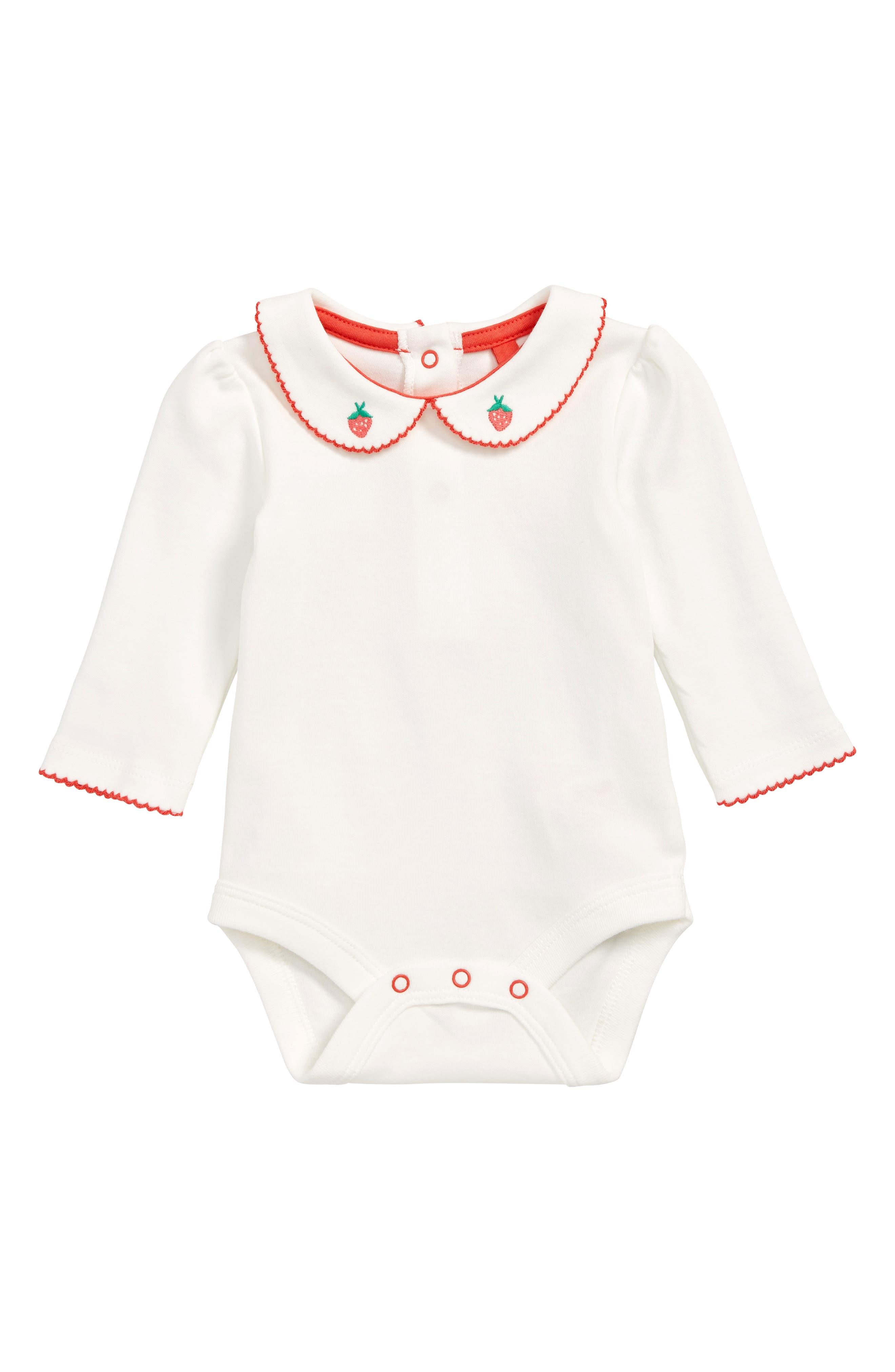 Toddler Girls Mini Boden Supersoft Collar Bodysuit Size 23Y  Ivory