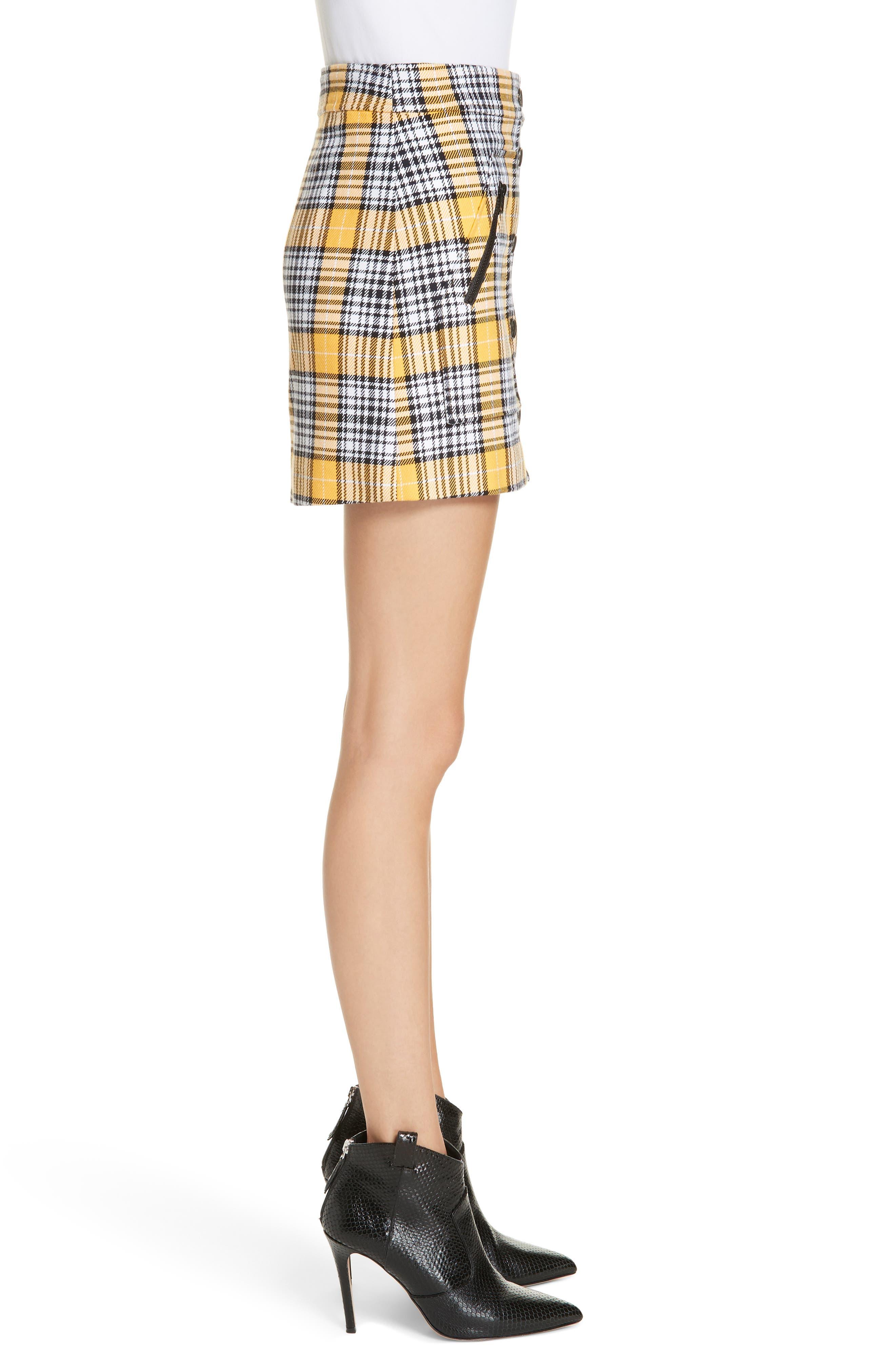 Monroe Plaid Miniskirt,                             Alternate thumbnail 3, color,                             YELLOW