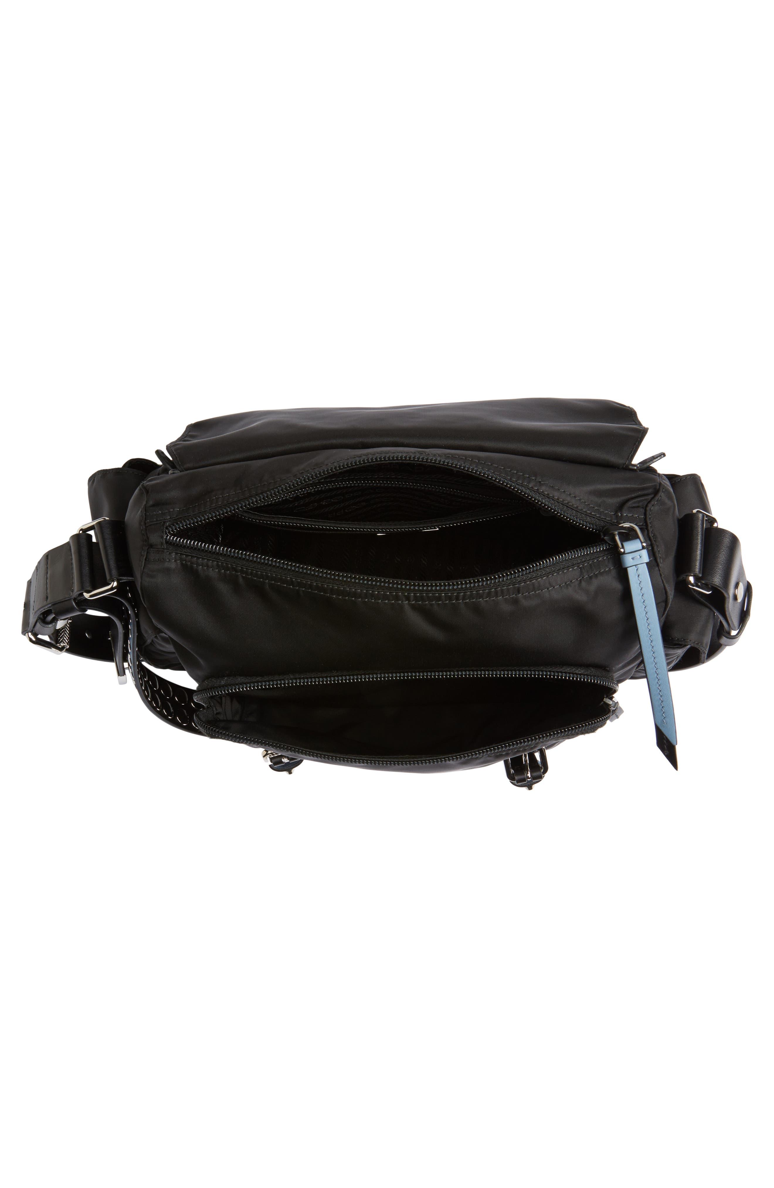 Studded Nylon Messenger Bag,                             Alternate thumbnail 4, color,                             NERO/ ASTRALE