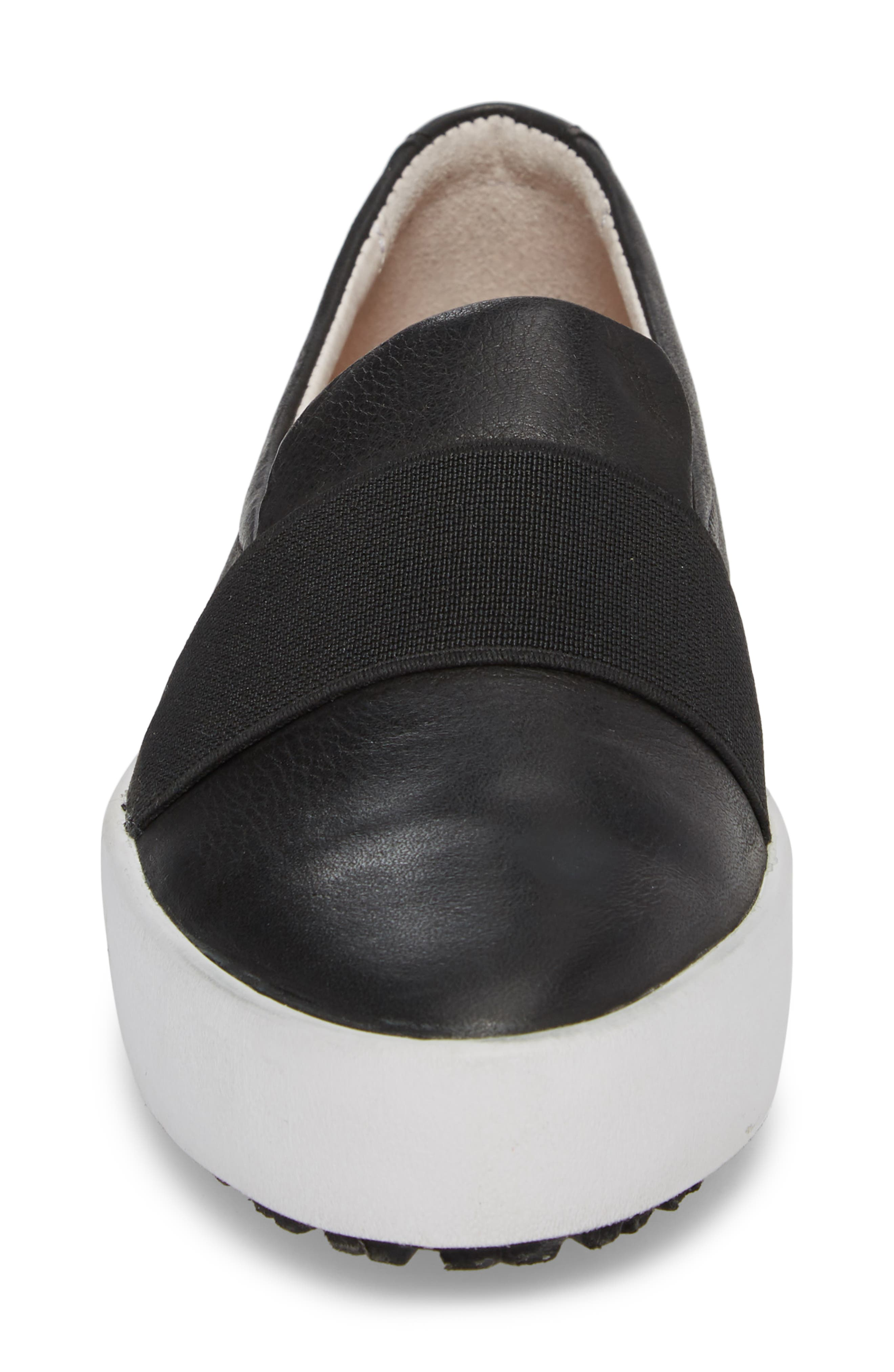 PL99 Slip-On Sneaker,                             Alternate thumbnail 4, color,                             BLACK LEATHER
