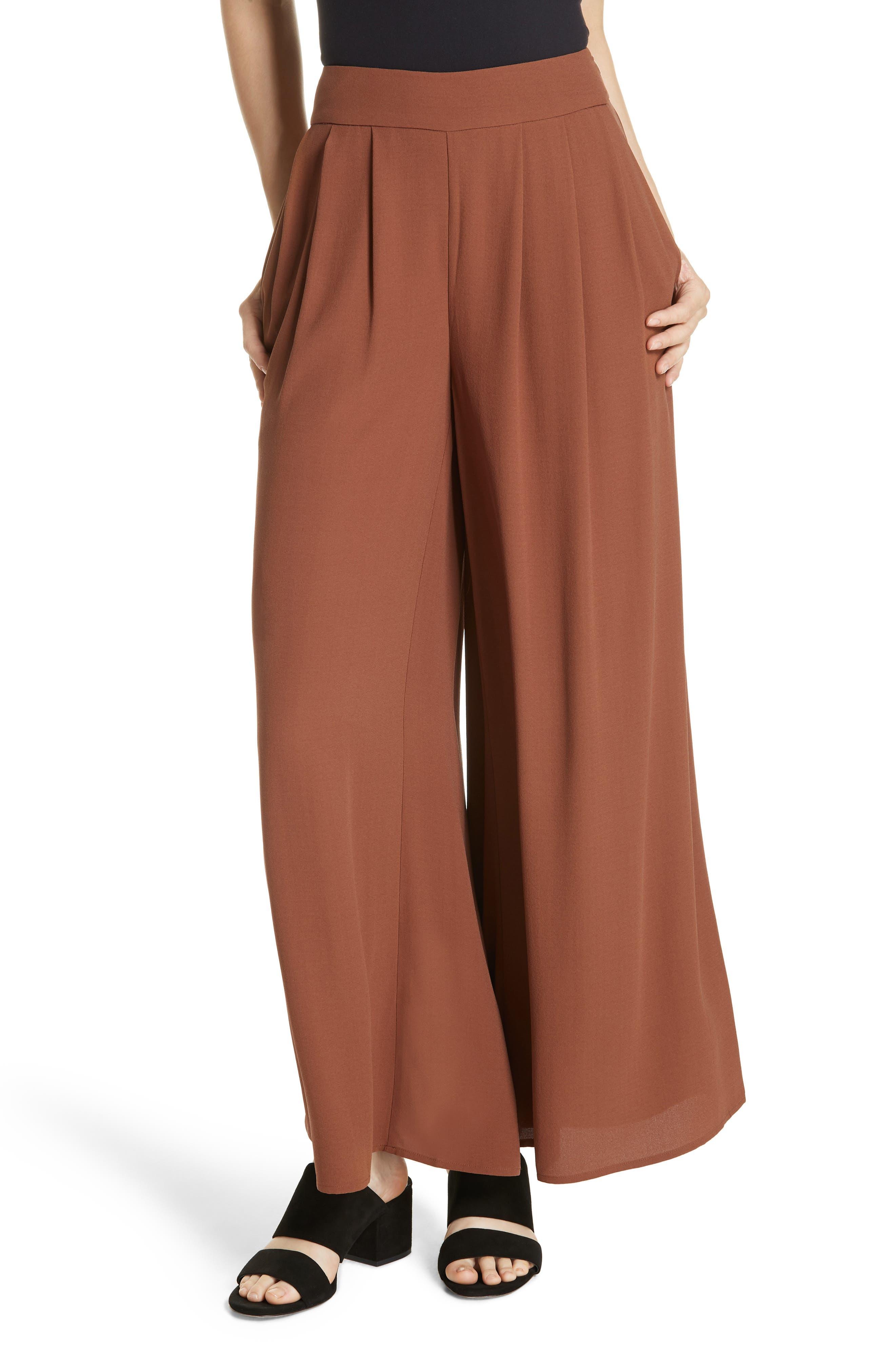 women's eileen fisher wide leg silk pants