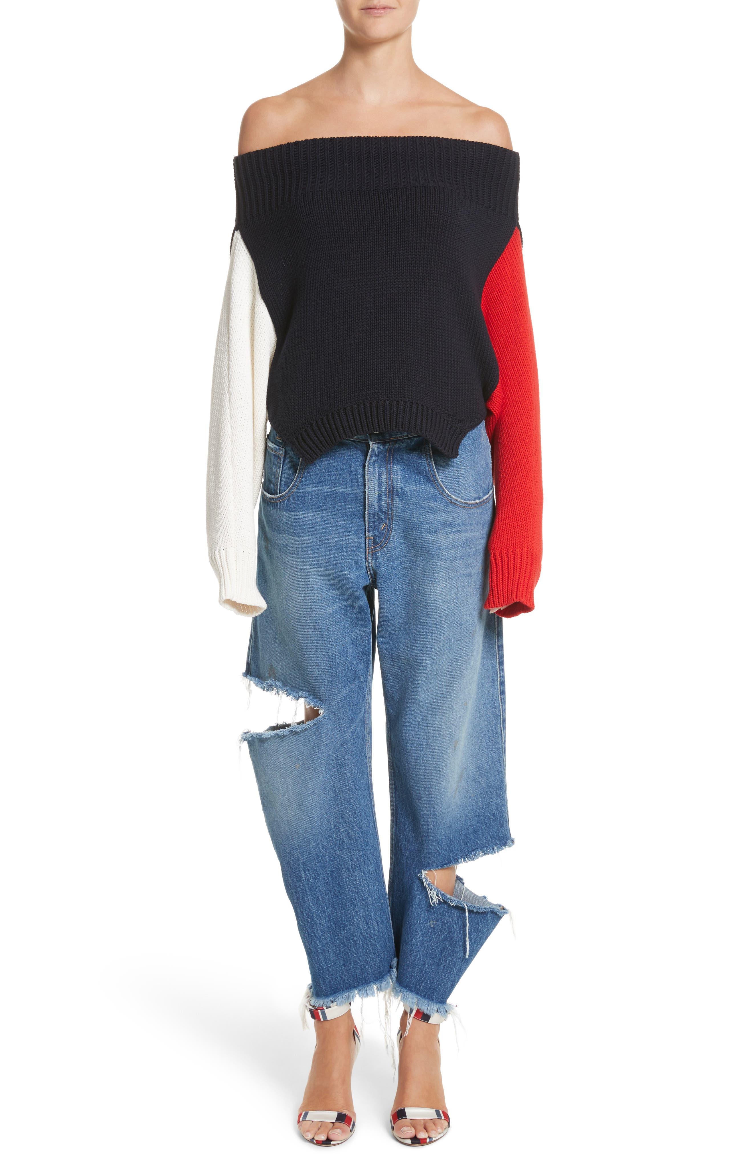 Varsity Upside Down Sweater,                             Alternate thumbnail 7, color,                             005