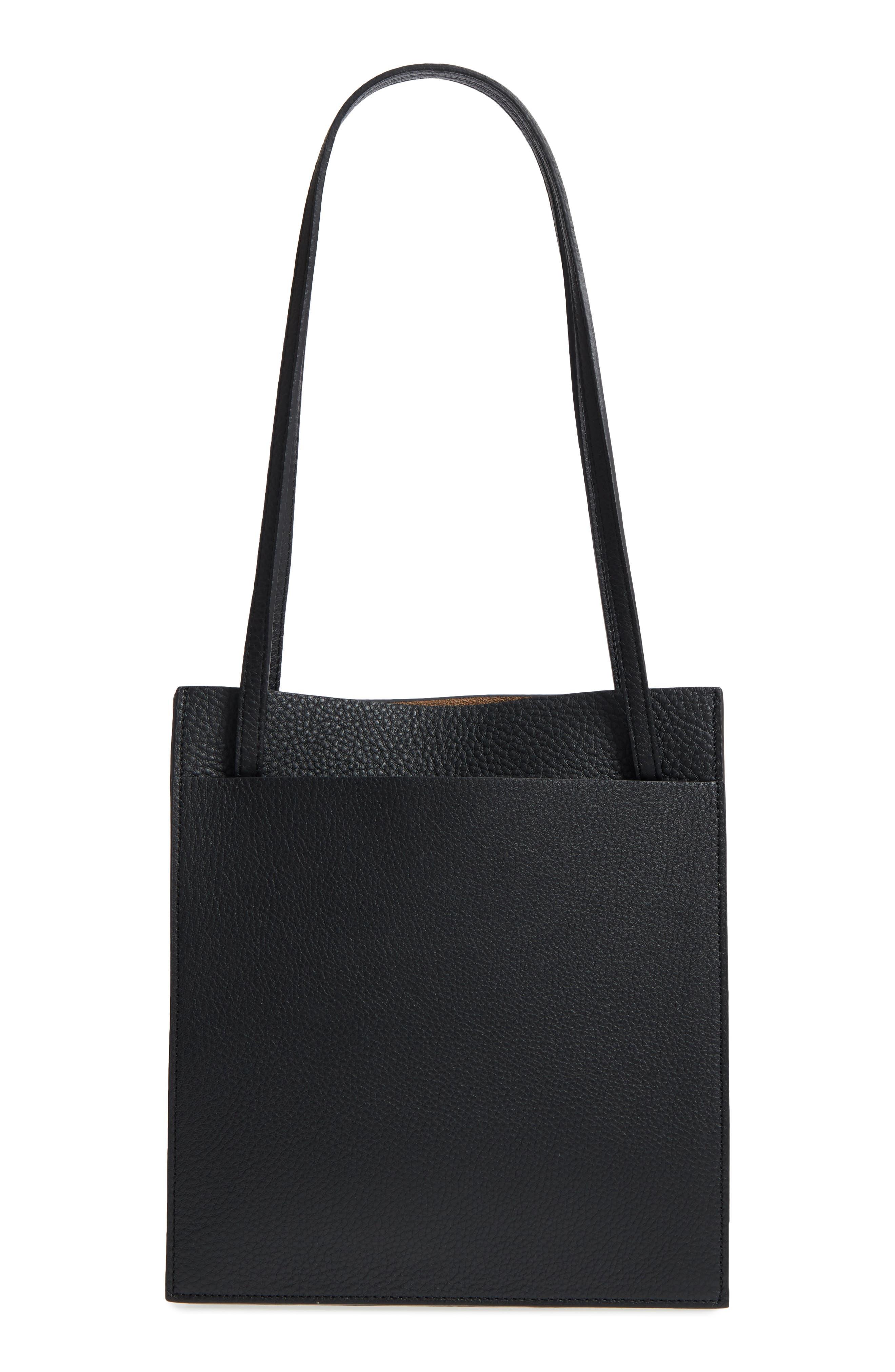 Kit Leather Convertible Shoulder Bag,                             Alternate thumbnail 4, color,                             TRUE BLACK
