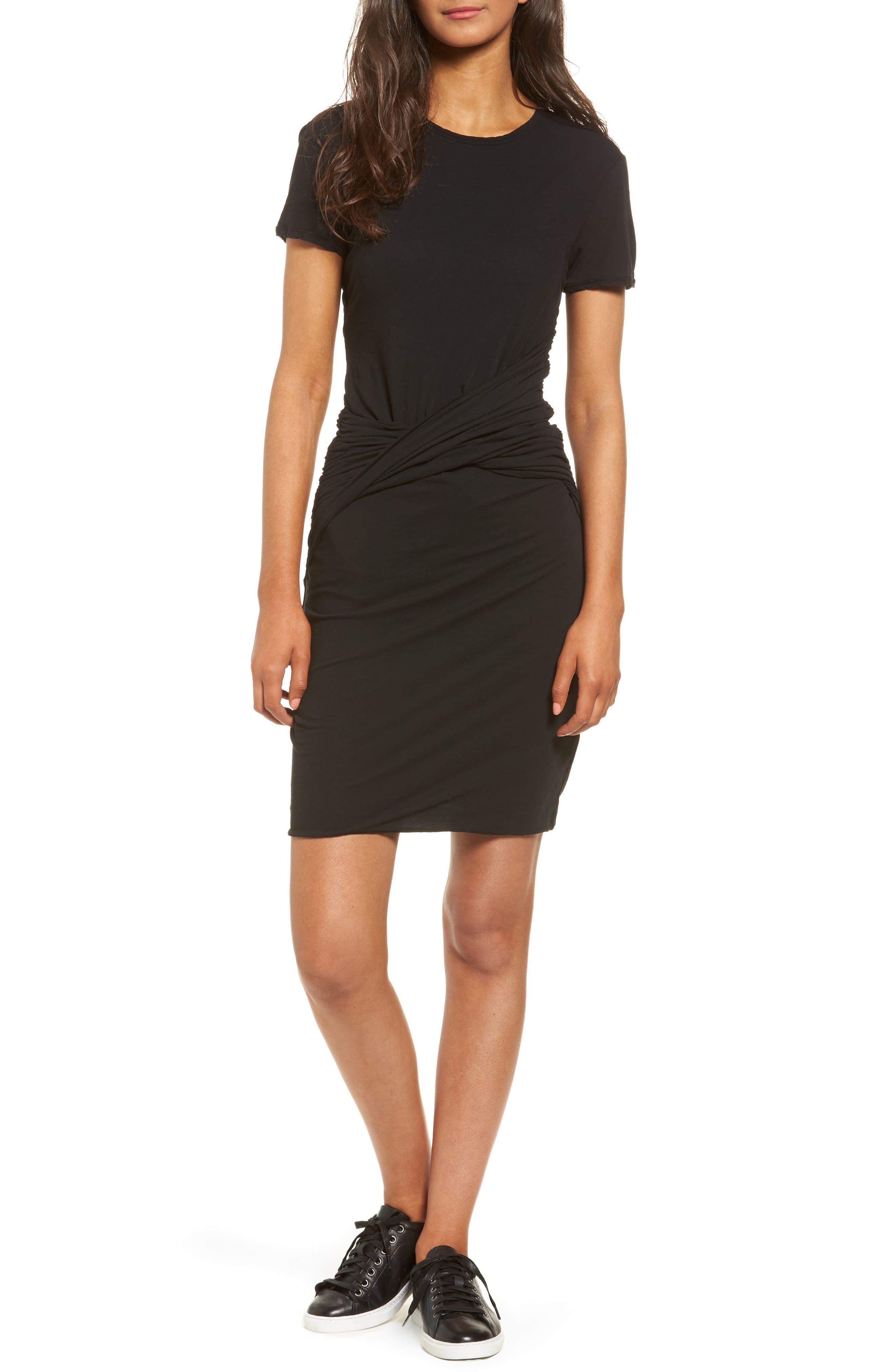 Twisted Drape T-Shirt Dress,                             Main thumbnail 1, color,                             001