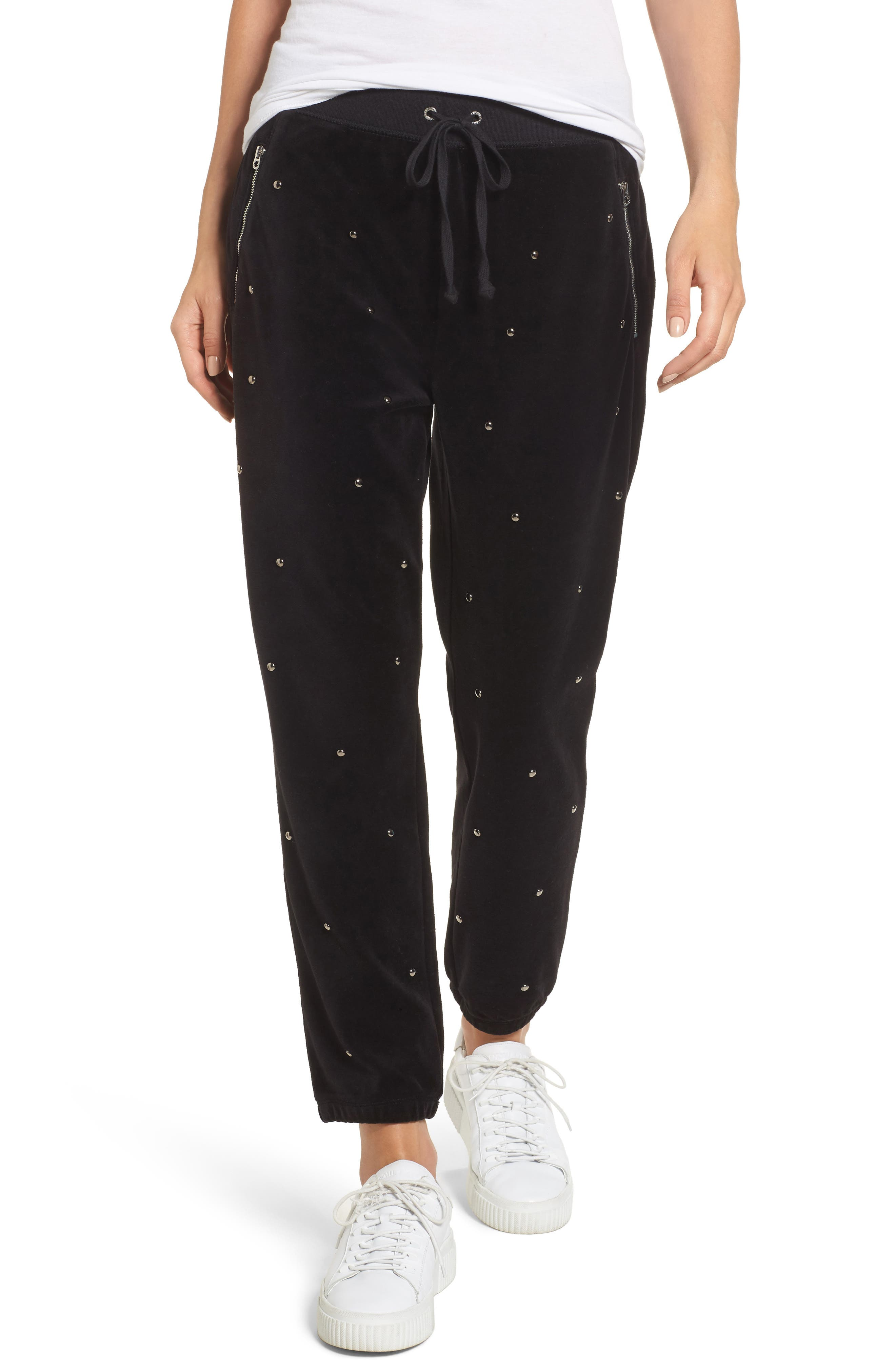 Velour Studded Track Pants,                         Main,                         color, 009