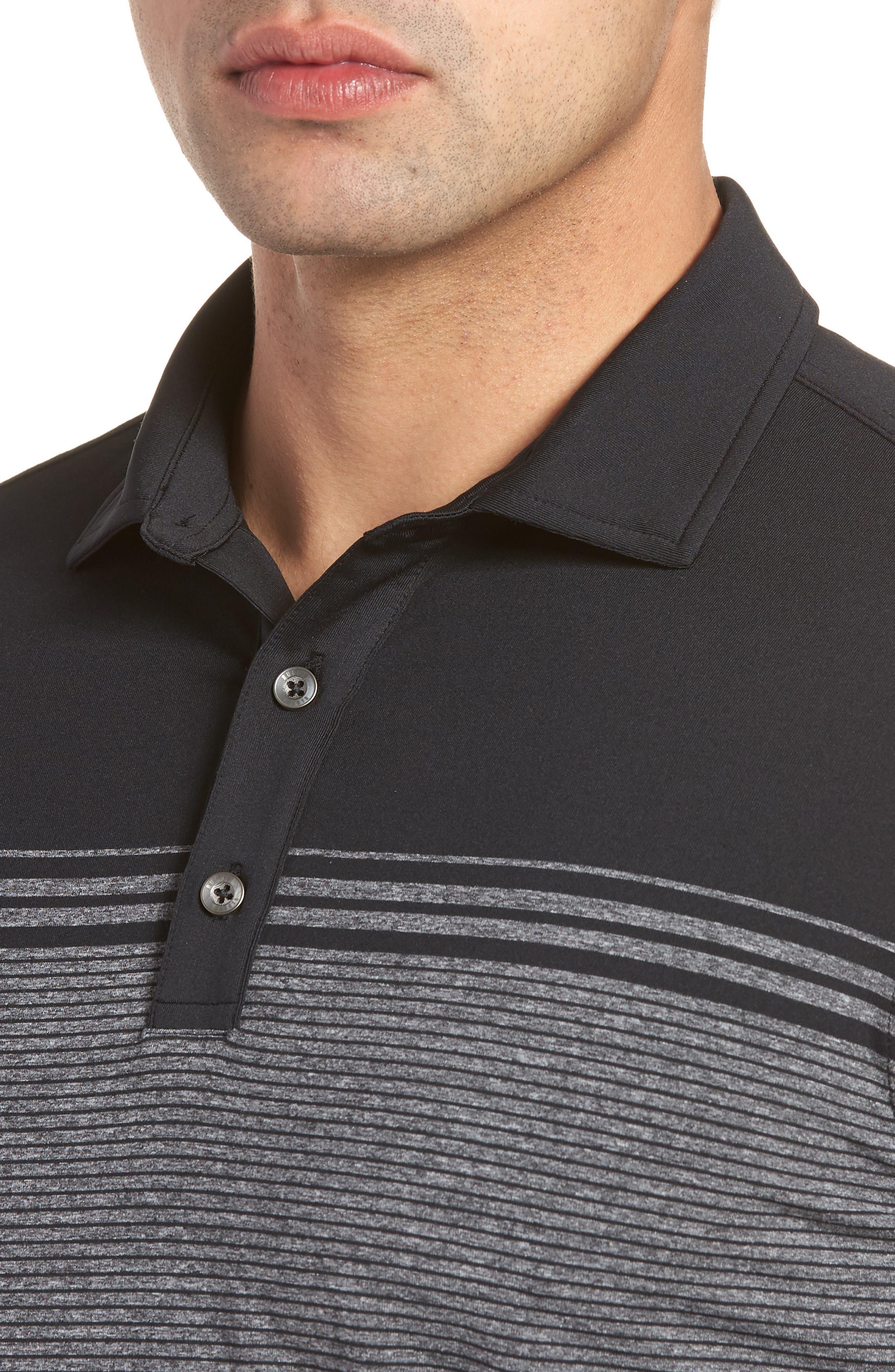 R18 Tech Torque Stripe Golf Polo,                             Alternate thumbnail 4, color,                             001