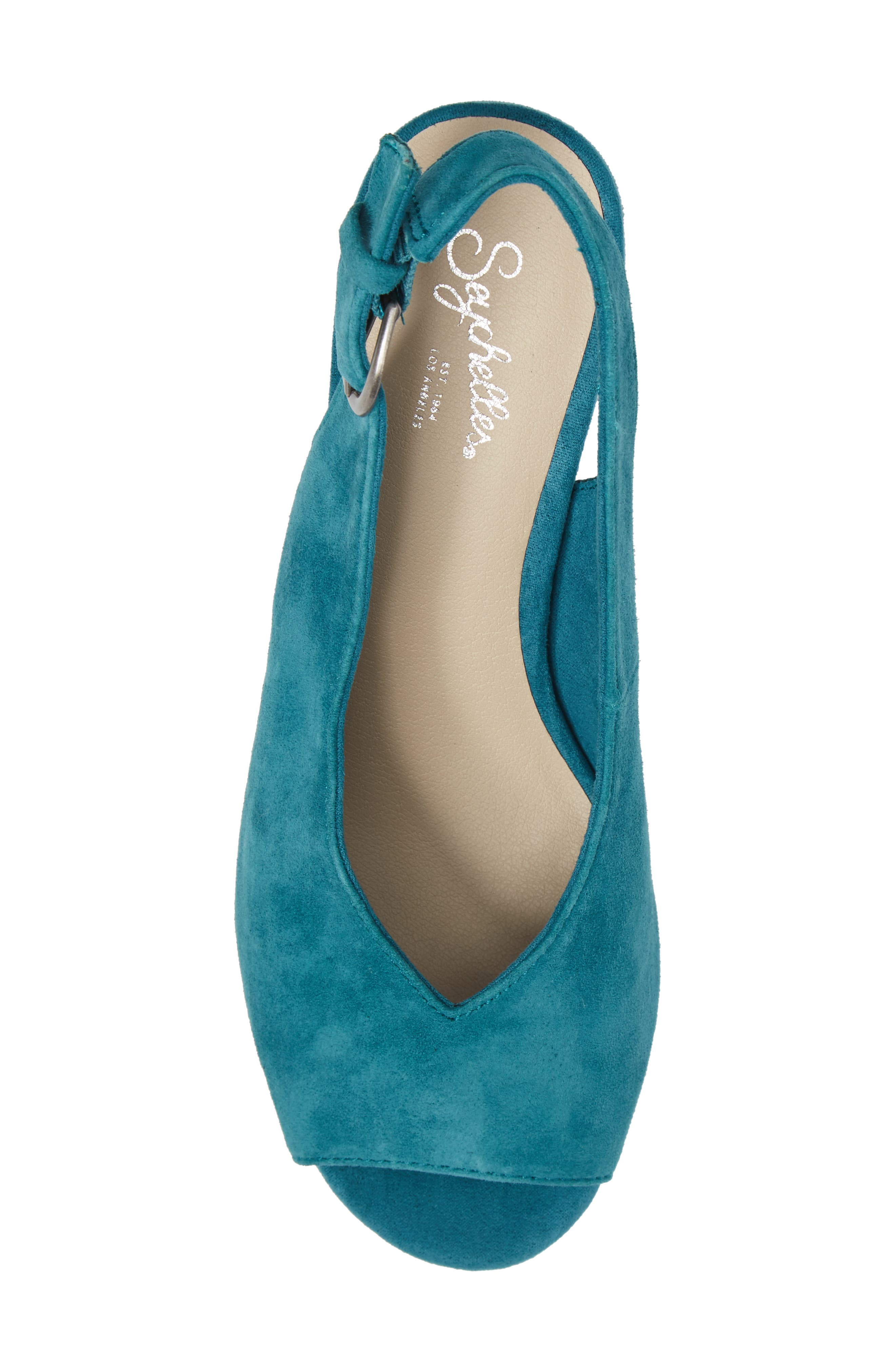 Playwright Slingback Sandal,                             Alternate thumbnail 5, color,                             TEAL SUEDE