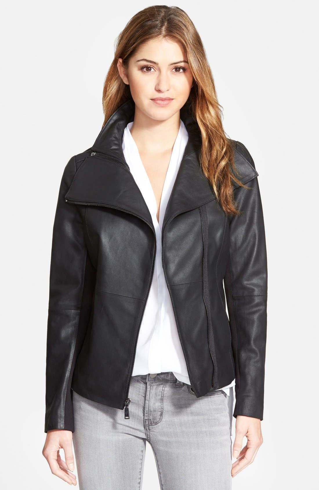 'Angelina' Zip Collar Leather Jacket,                         Main,                         color, 001