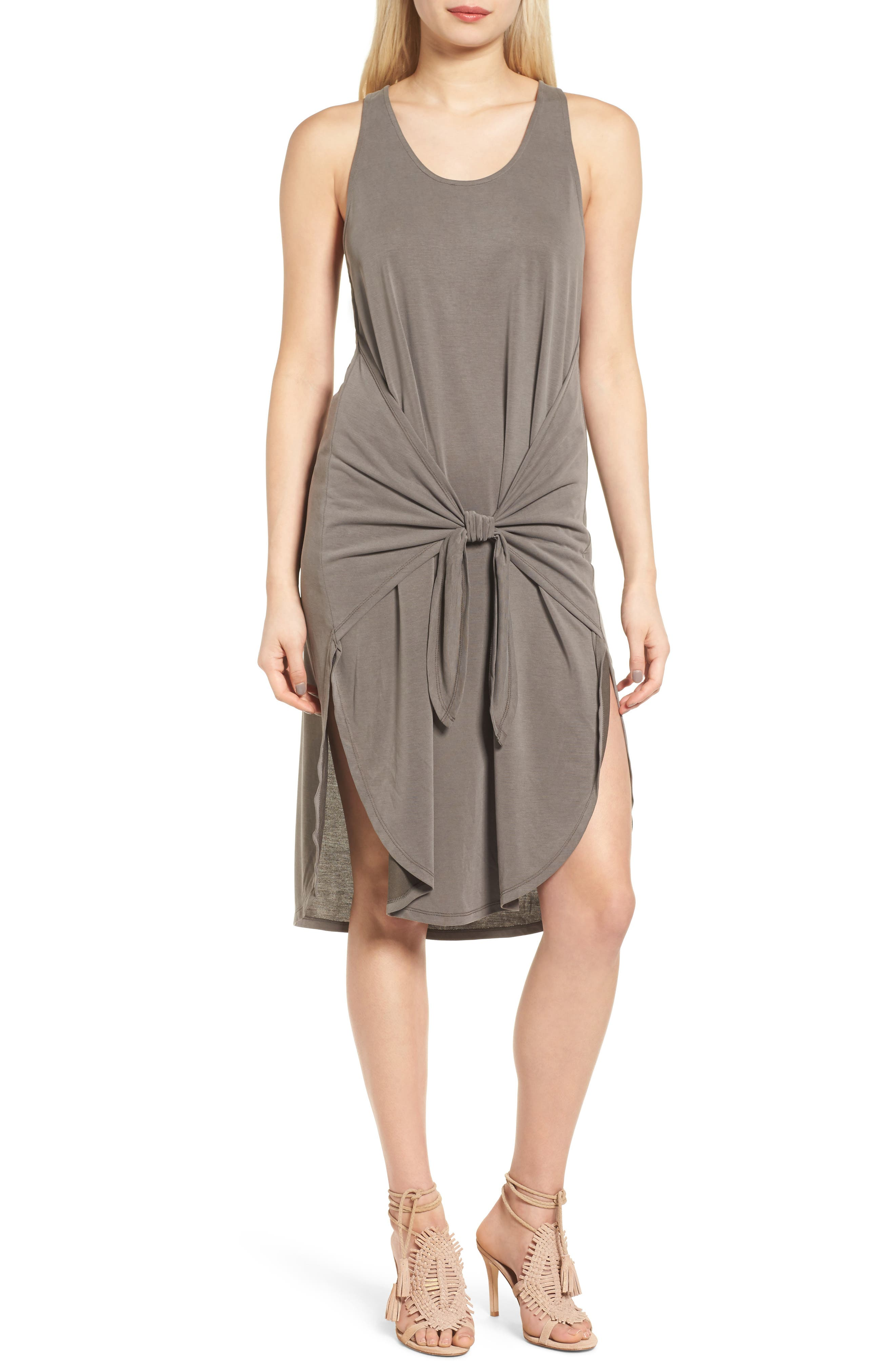 TROUVÉ Tie Front Knit Dress, Main, color, 030