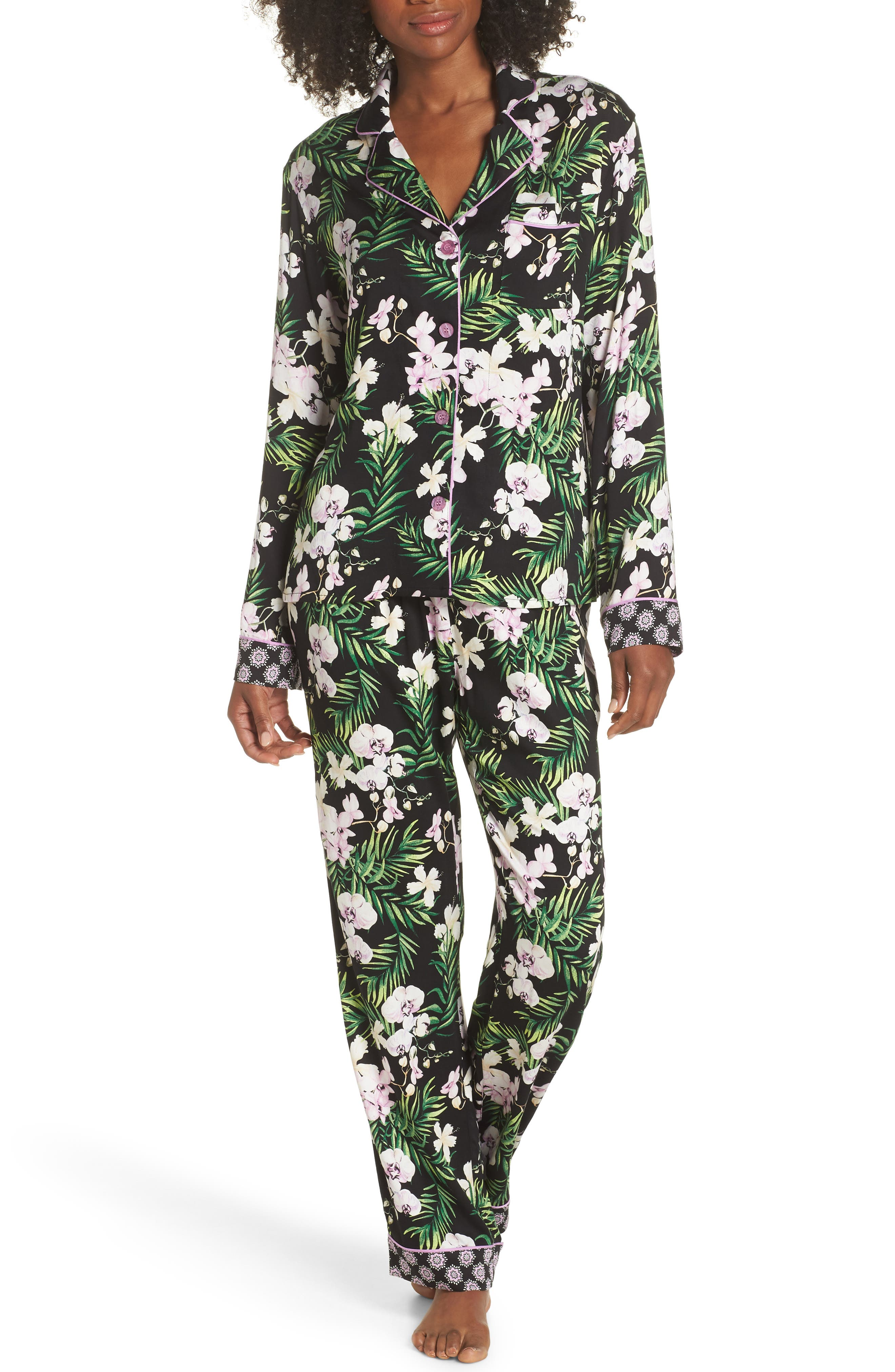 Floral Print Pajamas,                         Main,                         color, 001