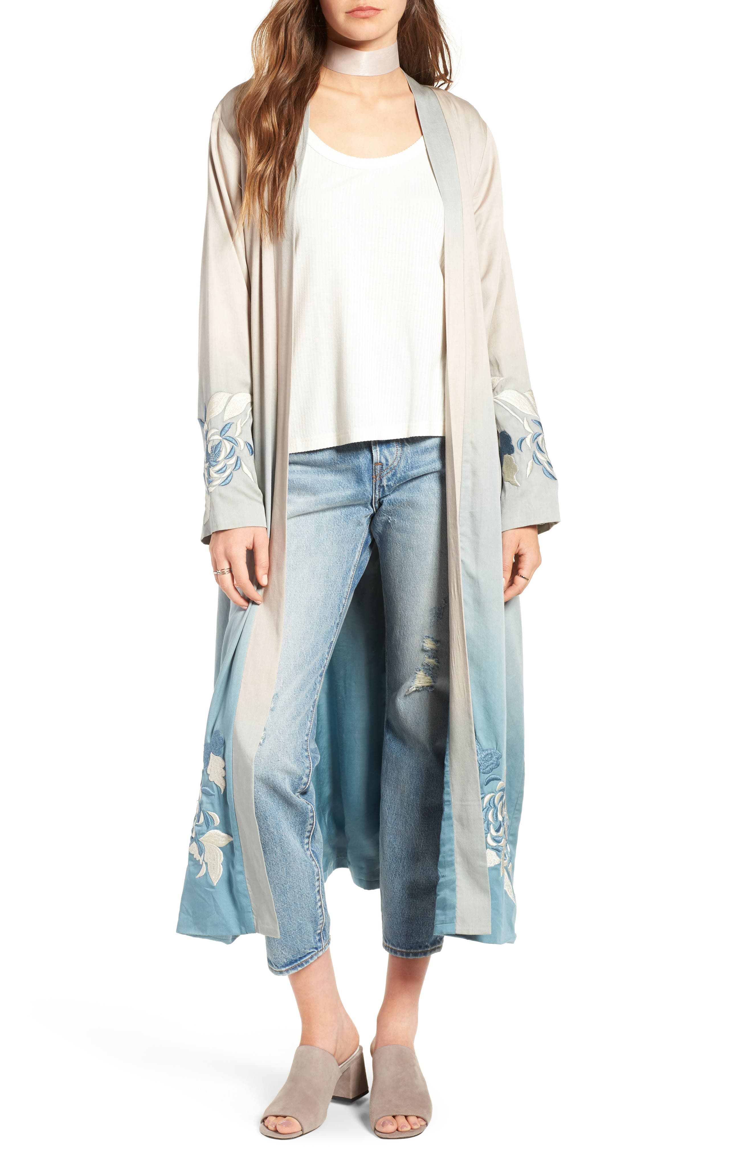 Silversage Embroidered Duster Jacket,                             Main thumbnail 1, color,                             475