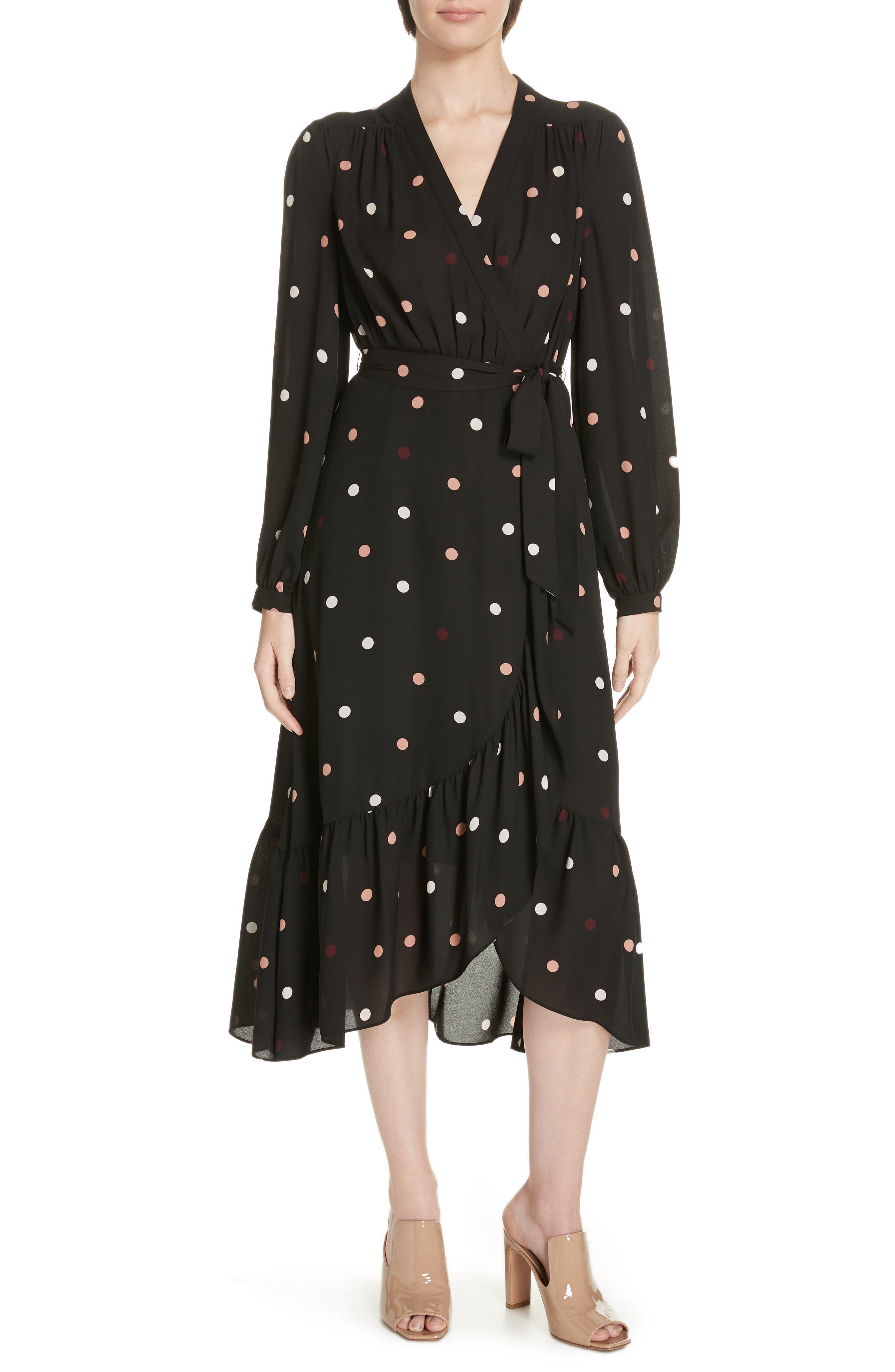 Kate Spade New York Bakery Dot Midi Wrap Dress, Black