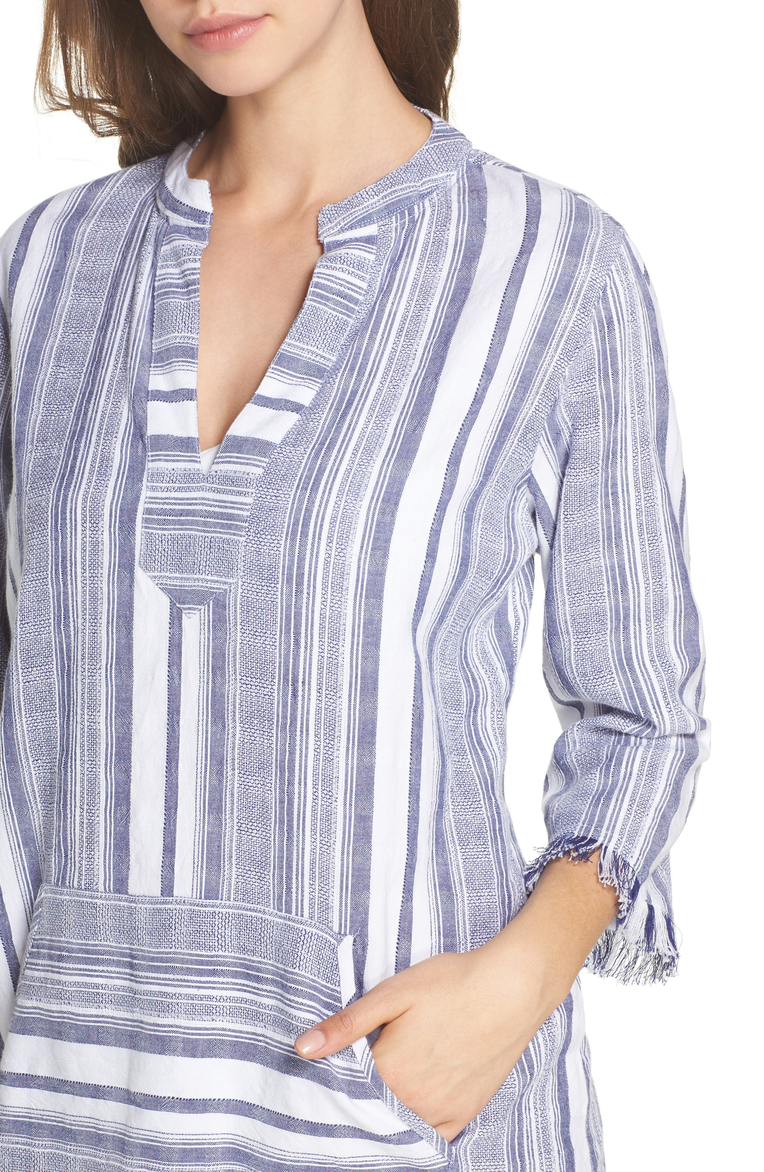Yarn Dye Stripe Cover-Up Tunic,                             Alternate thumbnail 4, color,                             100