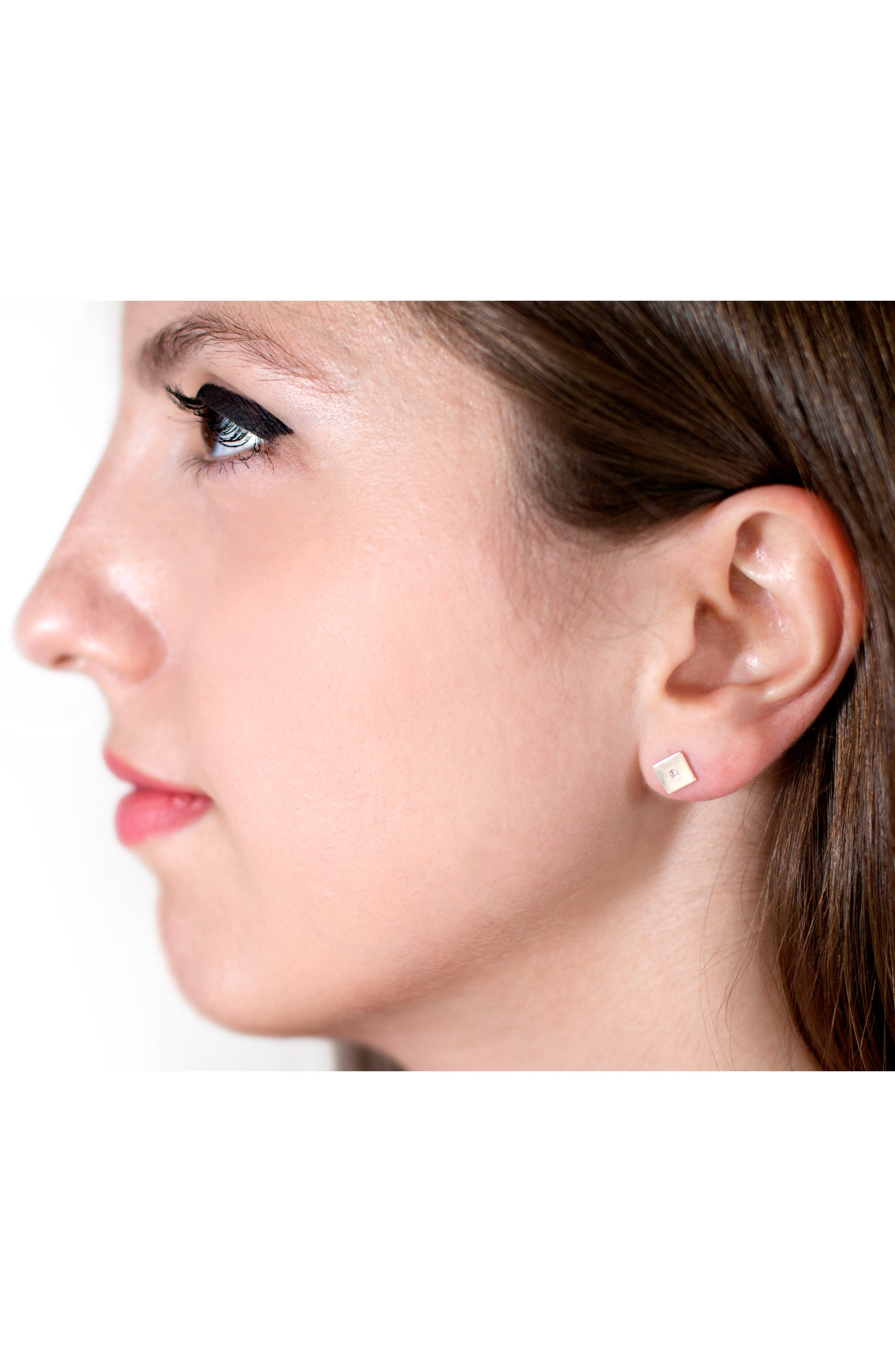 Forever Collection - Square Diamond Stud Earrings,                             Alternate thumbnail 2, color,                             YELLOW GOLD
